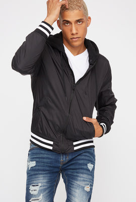Detachable Hooded Varsity Bomber Jacket