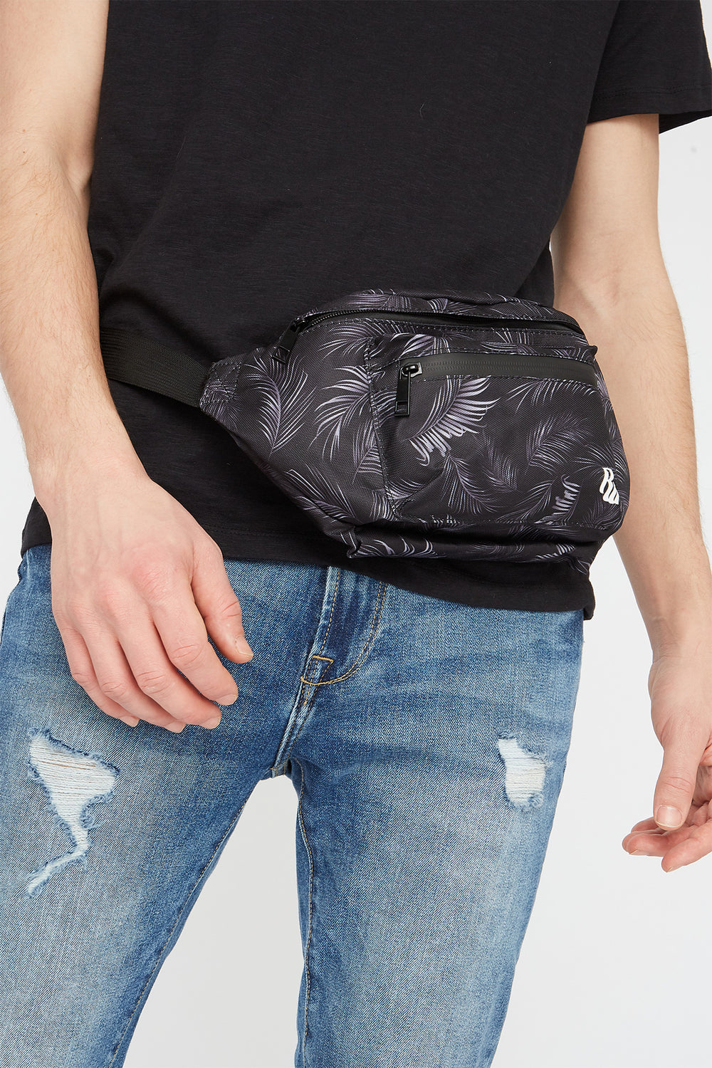 Rocawear Palm Leaf Printed Fanny Pack Black