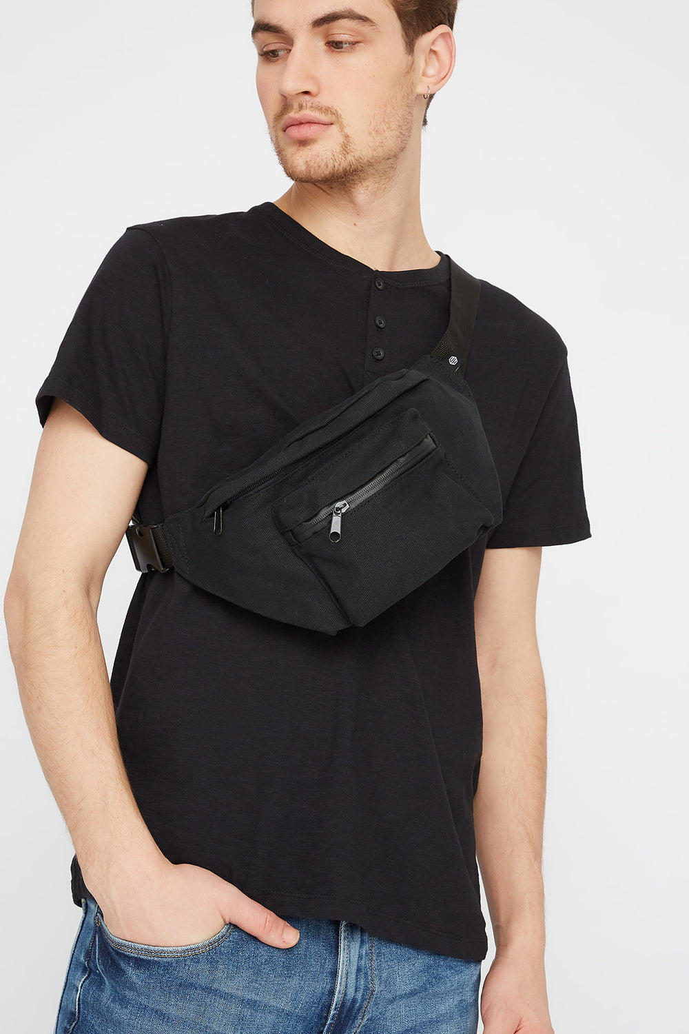 Black Canvas Fanny Pack Black