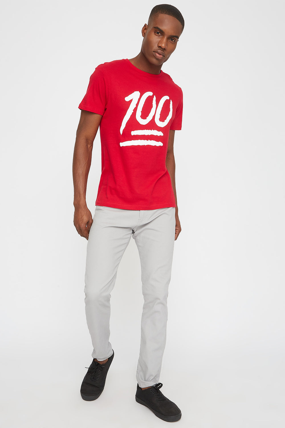 One Hundred Emoji Graphic T-Shirt Red