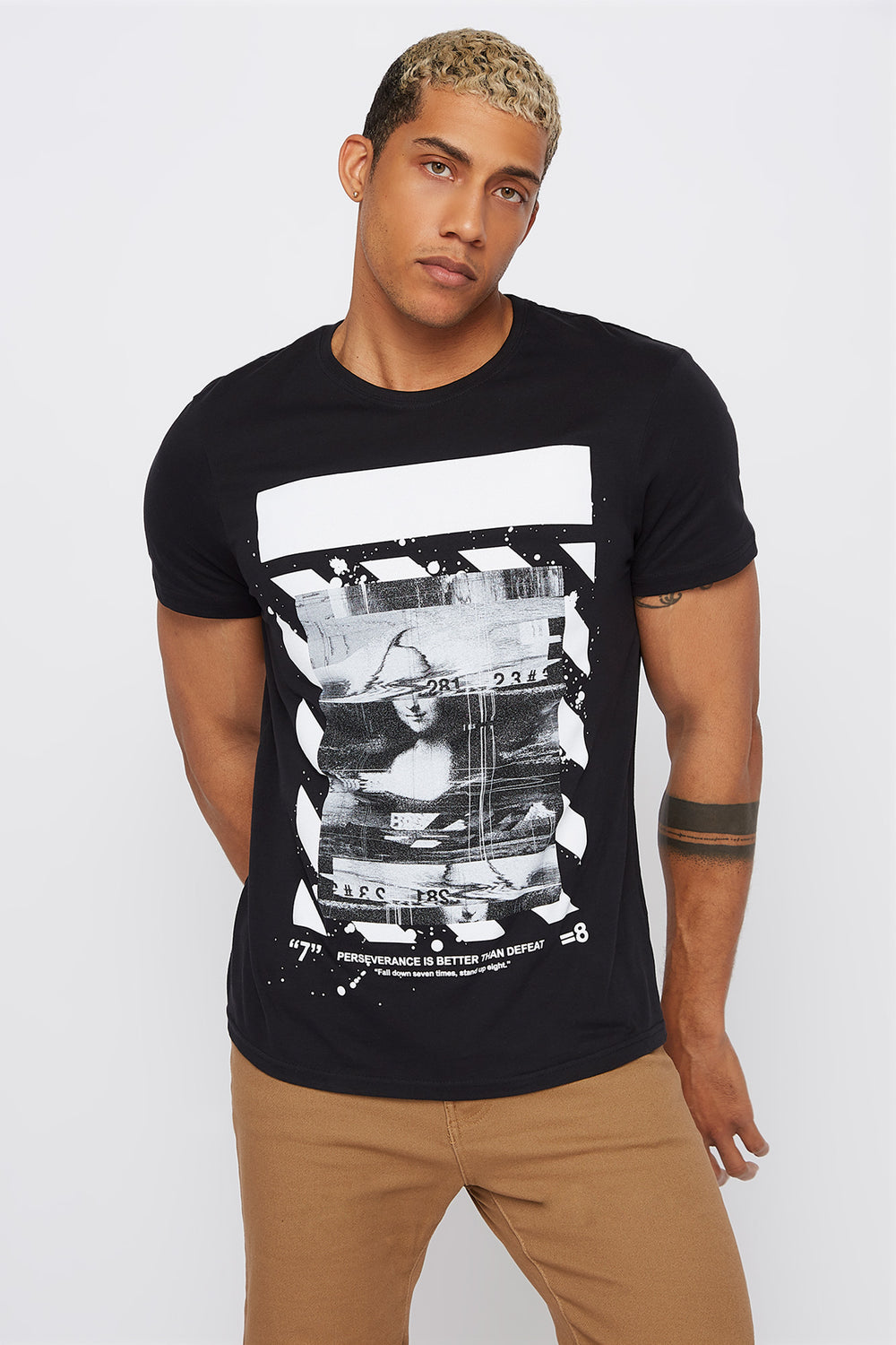 Mona Lisa Glitch T-Shirt Black