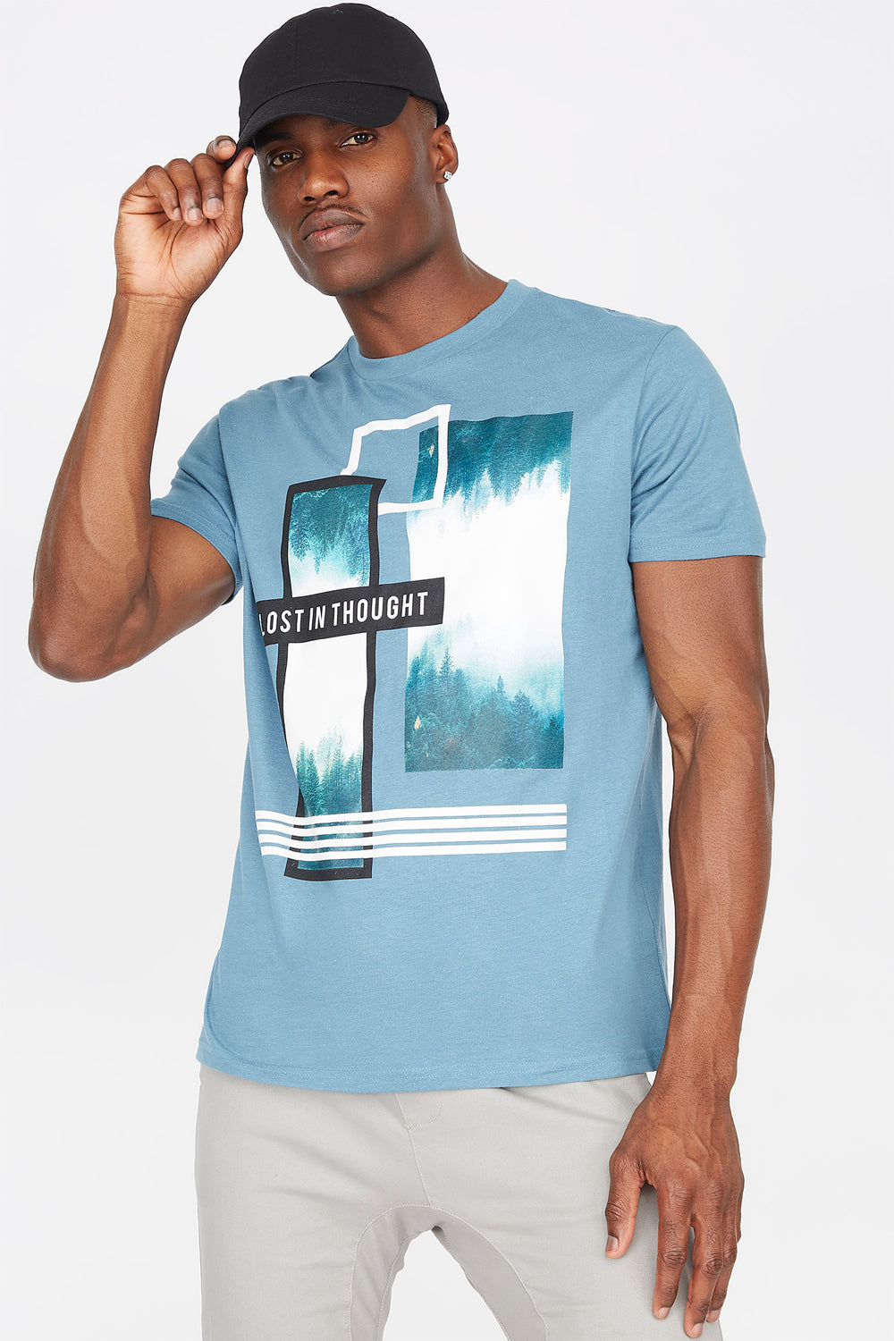 Lost In Thought Graphic T-Shirt Light Denim Blue