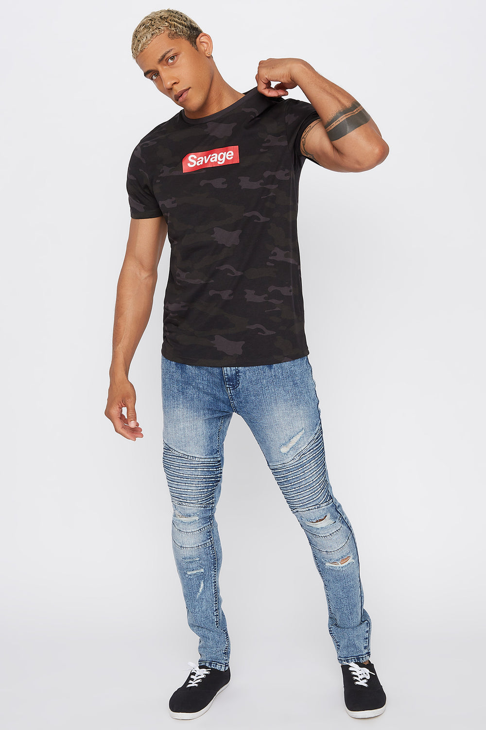 Camo Savage T-Shirt Black with White