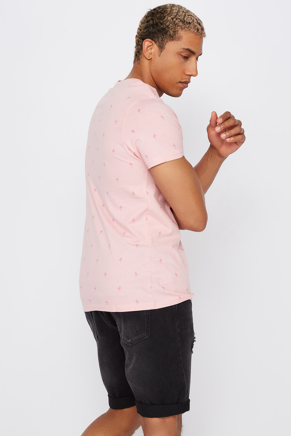 Graphic Micro Print T-Shirt Light Pink