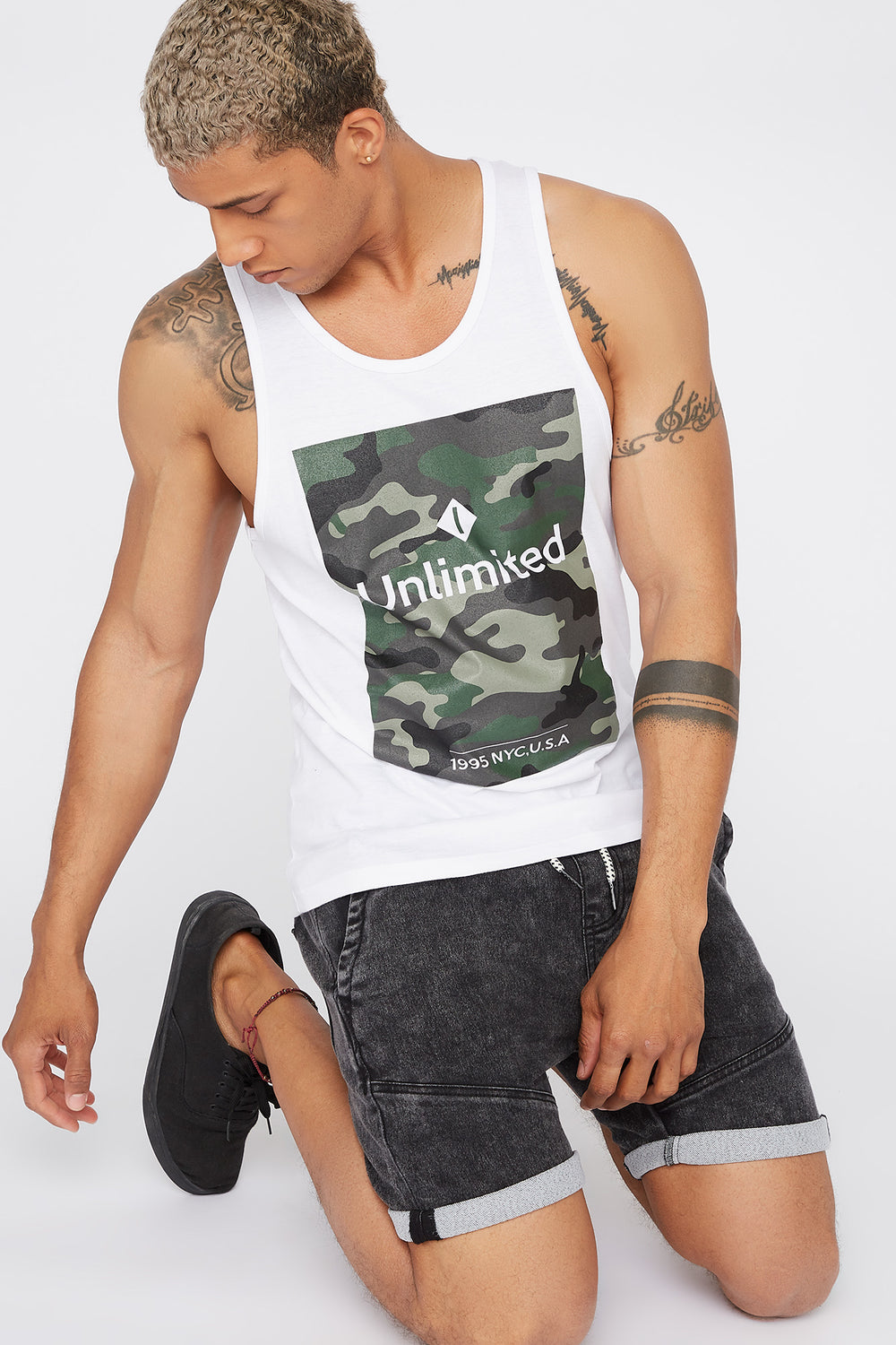 Graphic Camo Box Tank White