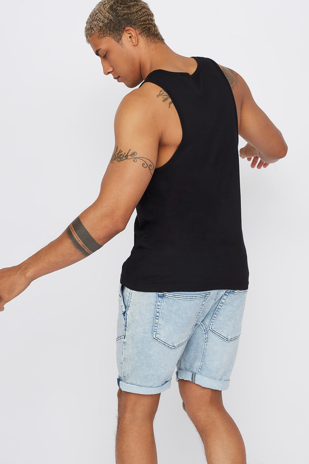 Graphic Faded Tank Black