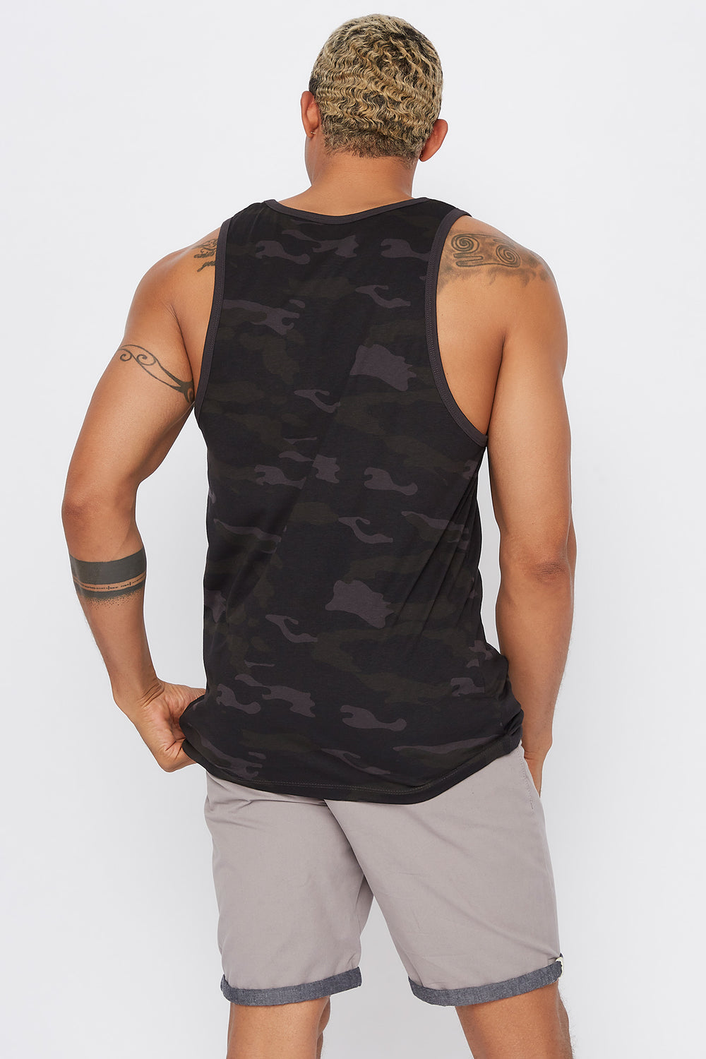 Camo Savage Tank Black with White