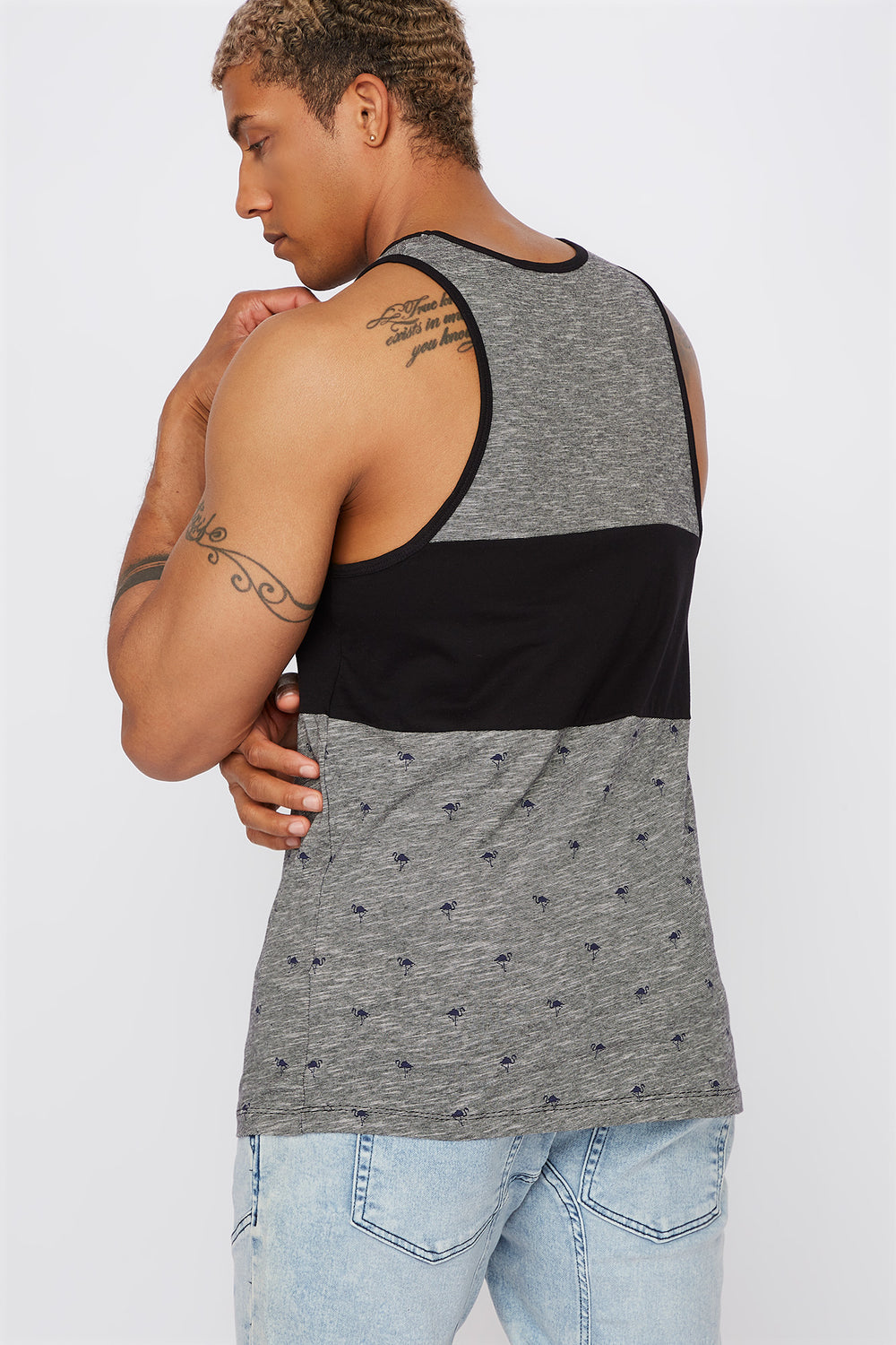Micro Print Colour Block Tank Black