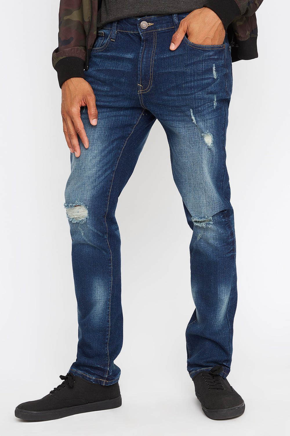 Dark Wash Distressed Stretch Slim Jean Midnight Blue