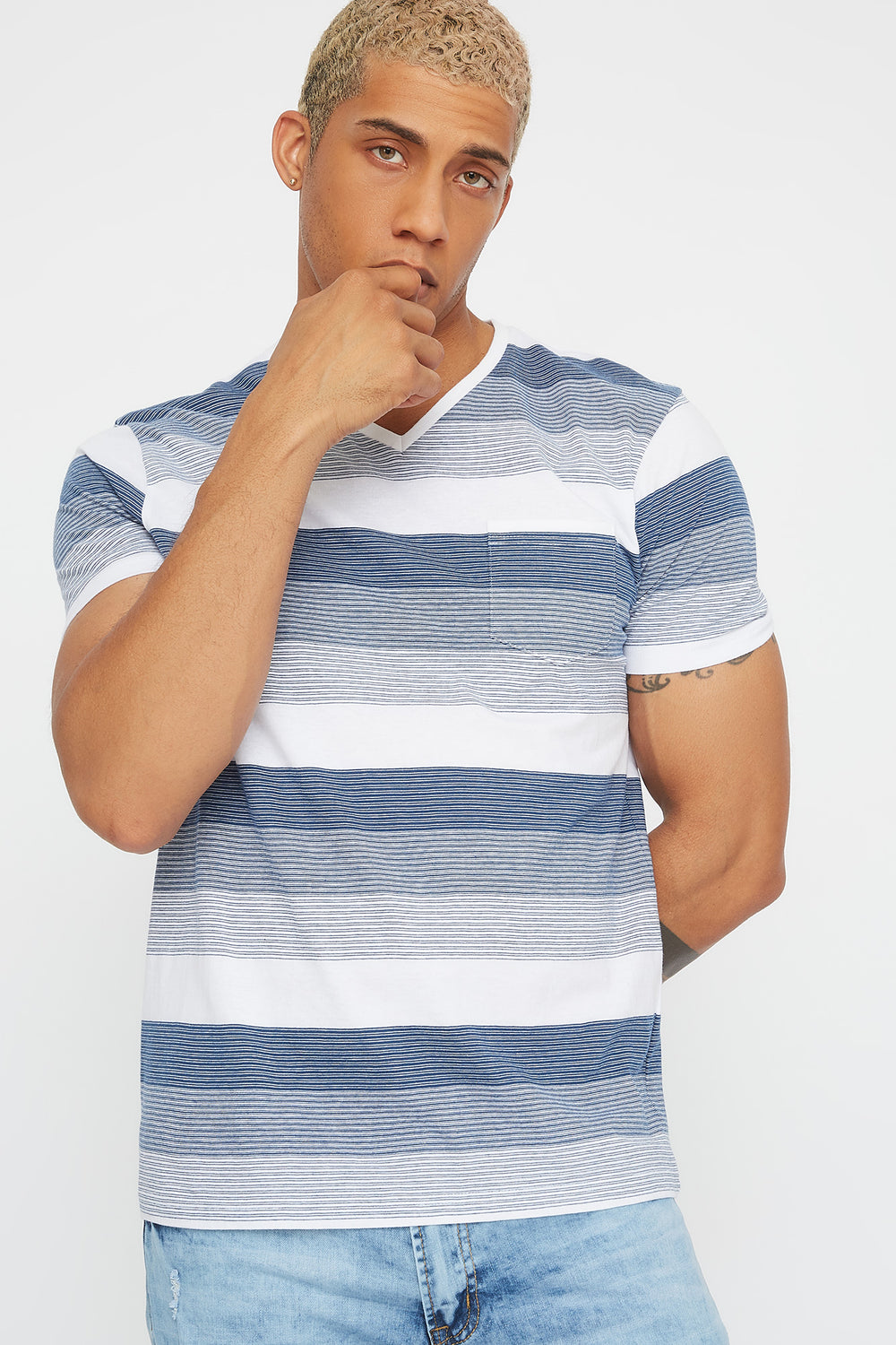 Striped V-Neck Pocket T-Shirt Dark Blue
