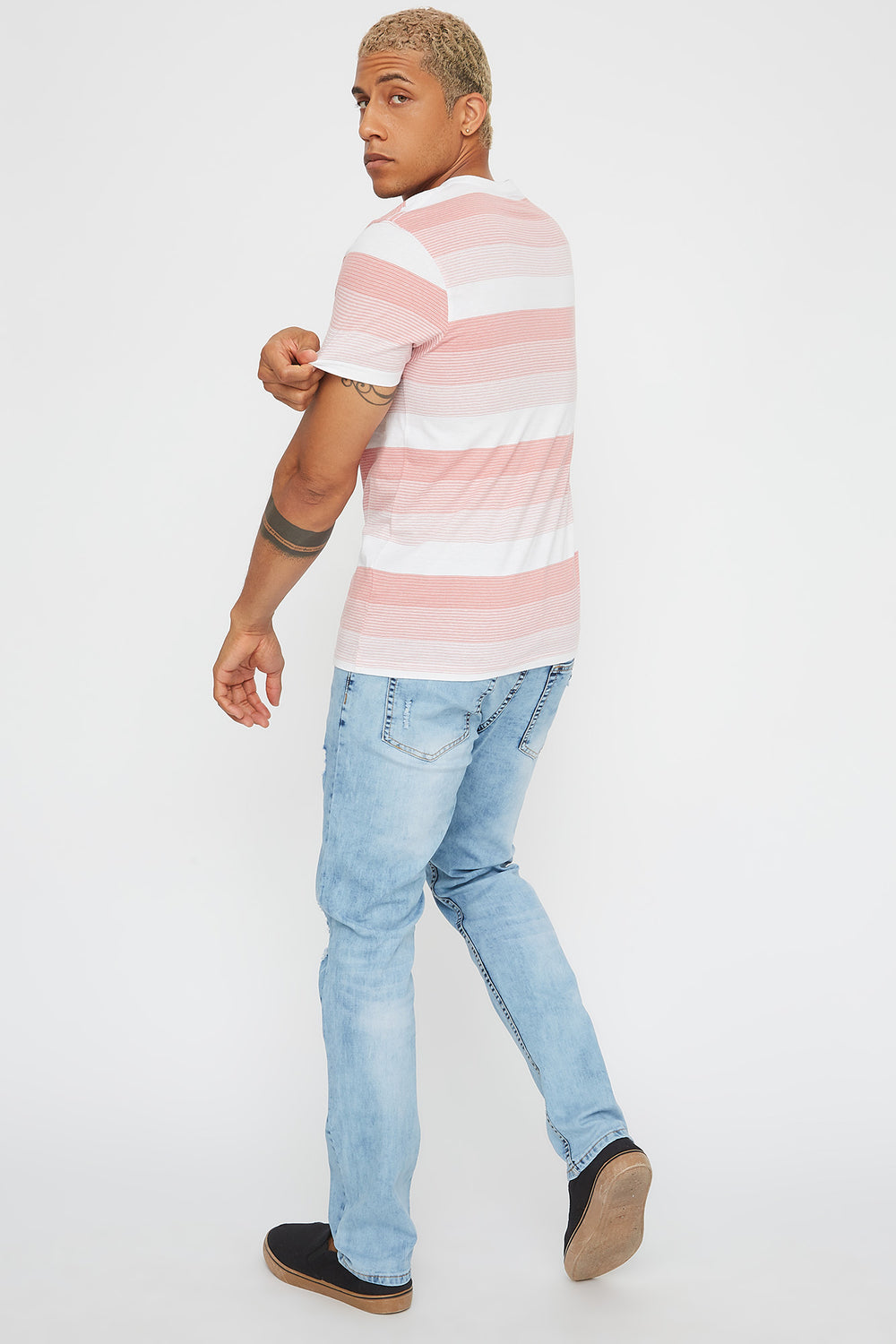 Striped V-Neck Pocket T-Shirt Pink