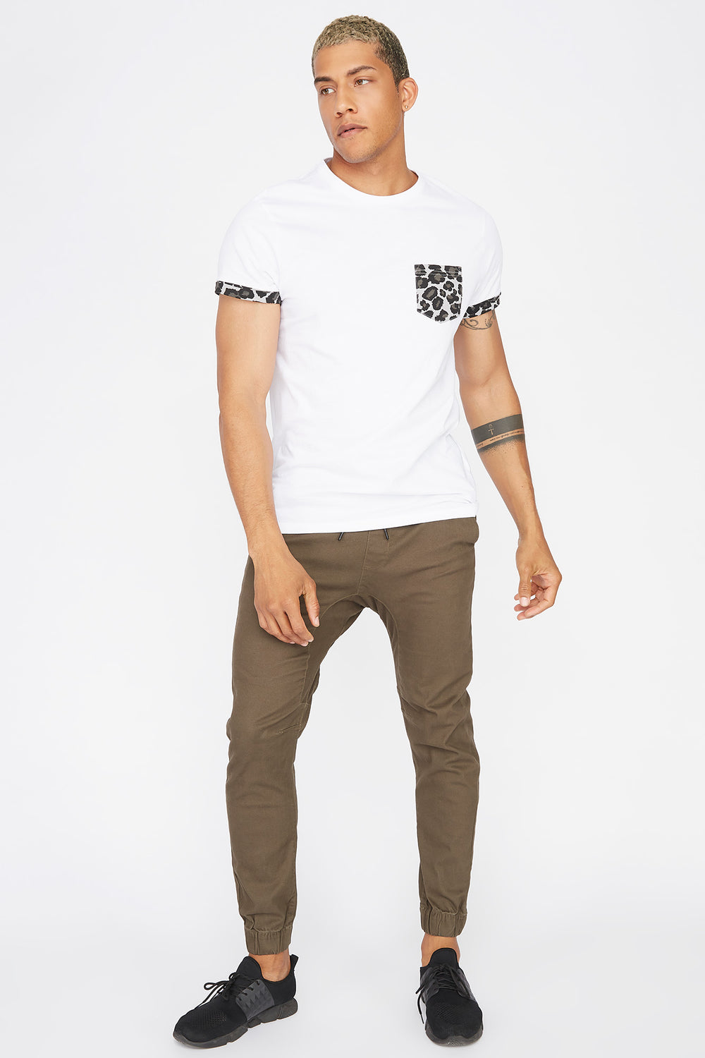 Contrast Animal Printed Pocket T-Shirt White