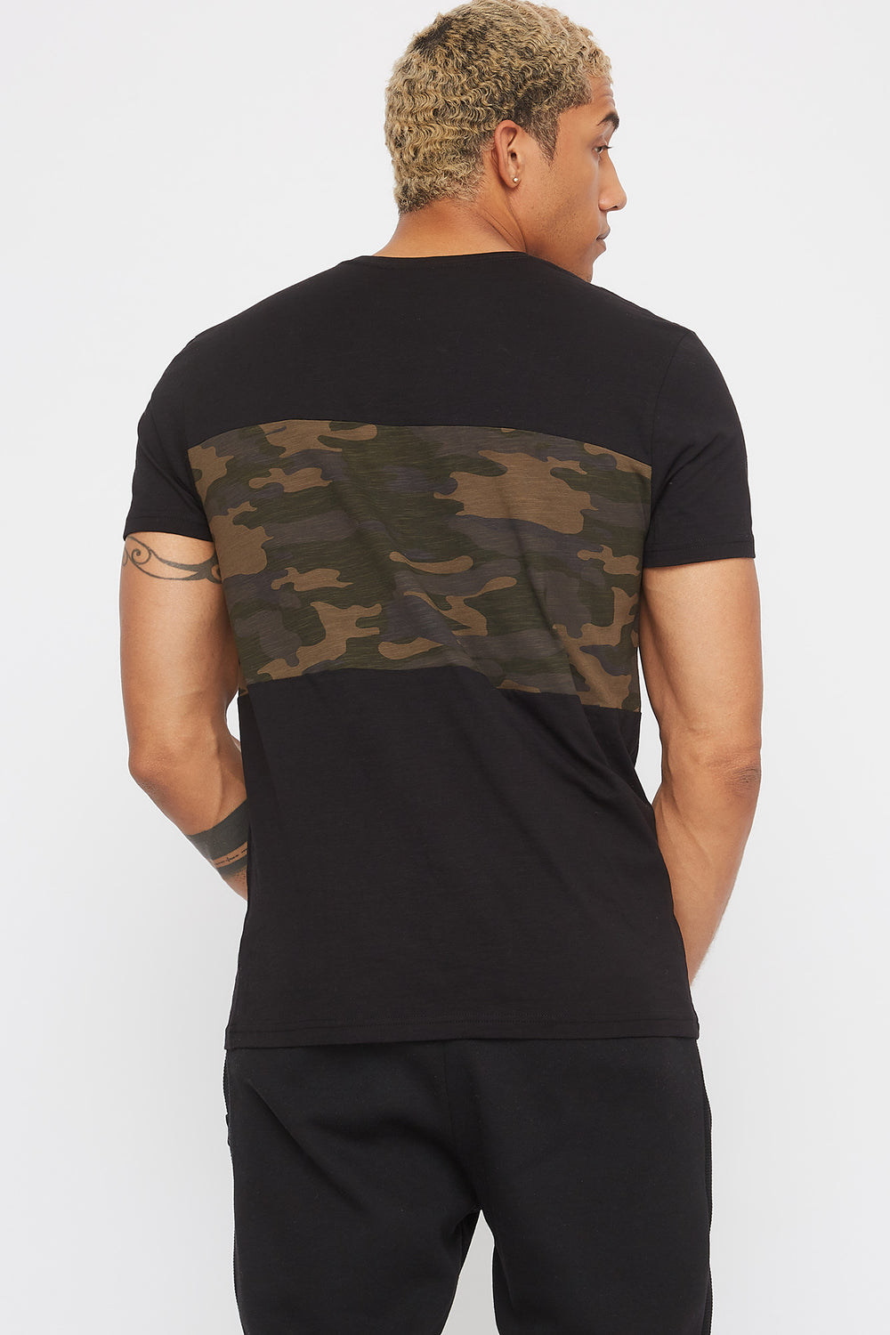 Colour Block Camo T-Shirt Black