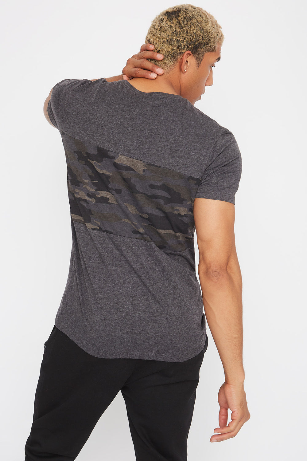 Colour Block Camo T-Shirt Charcoal