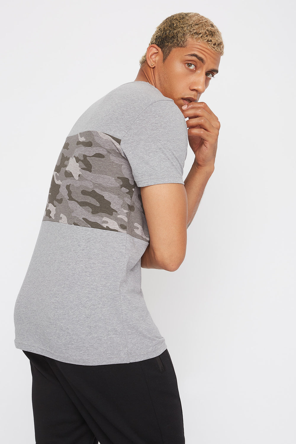 Colour Block Camo T-Shirt Heather Grey