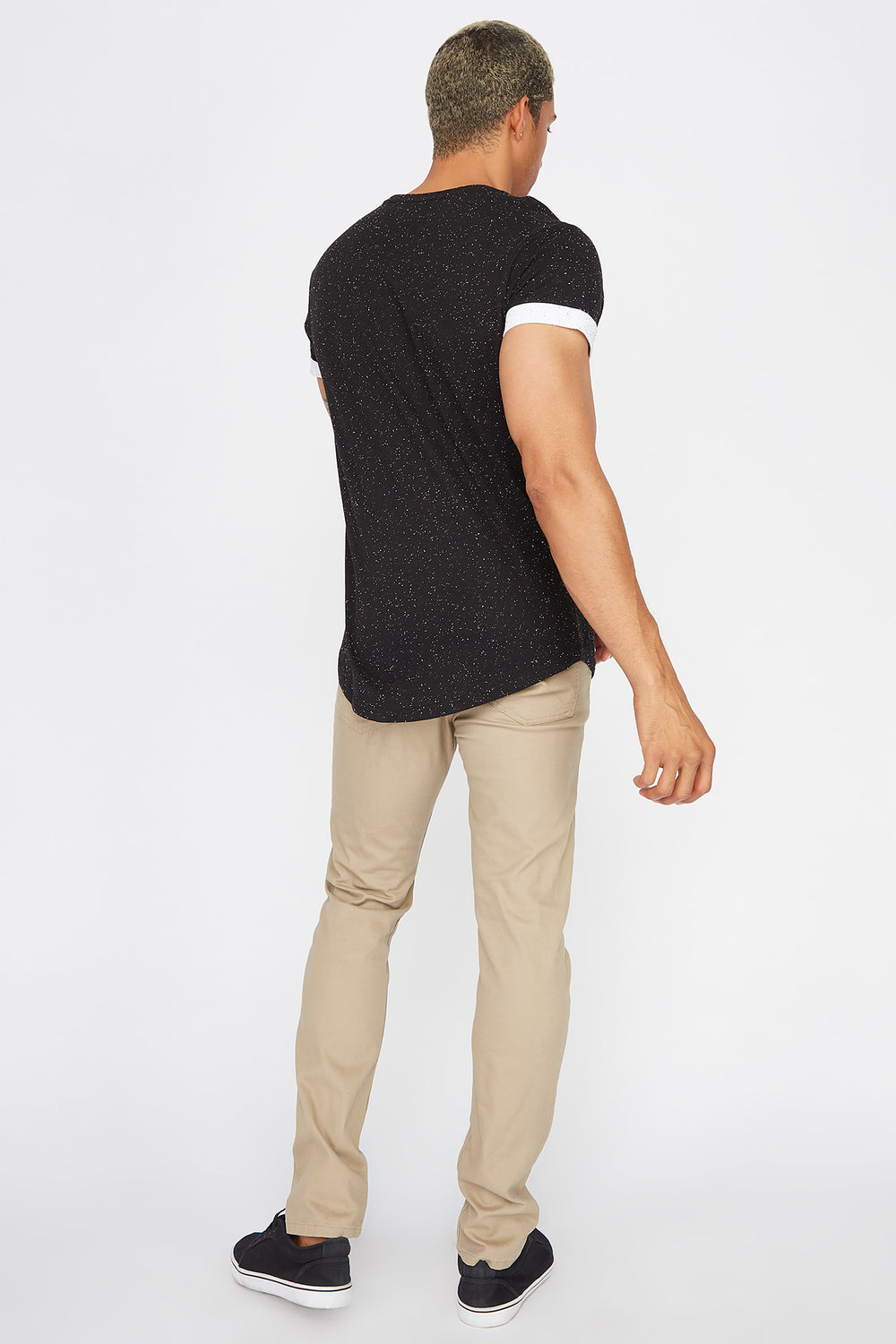 Speckled Cuffed Sleeve T-Shirt Black