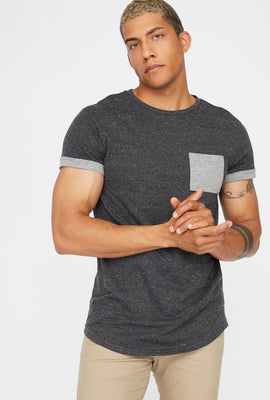 Speckled Cuffed Sleeve T-Shirt