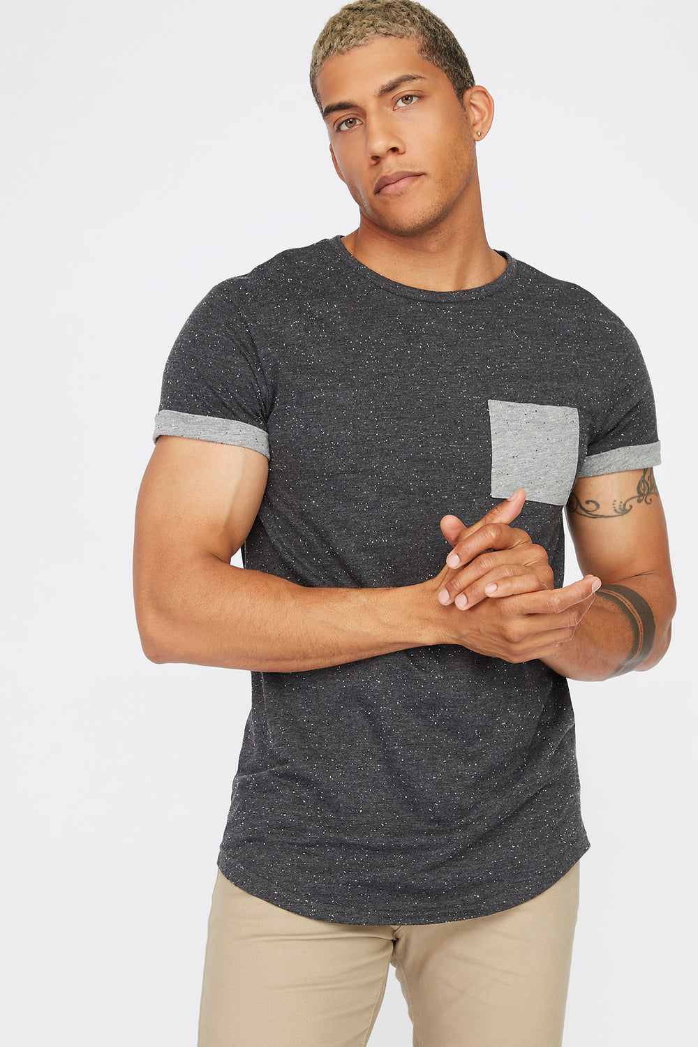 Speckled Cuffed Sleeve T-Shirt Charcoal