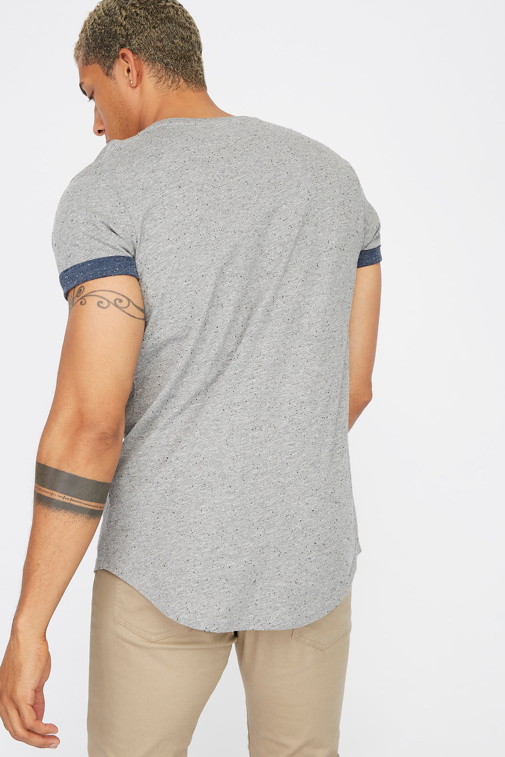 Speckled Cuffed Sleeve T-Shirt Heather Grey