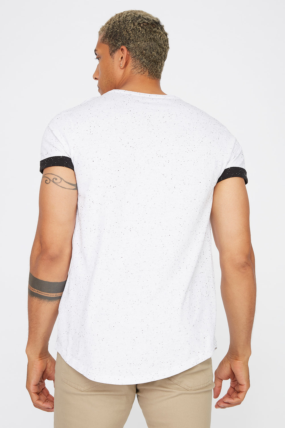 Speckled Cuffed Sleeve T-Shirt White