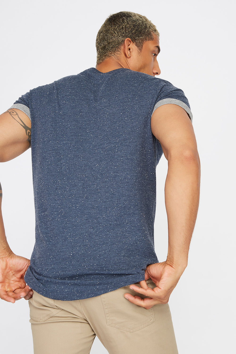 Speckled Cuffed Sleeve T-Shirt Denim Blue