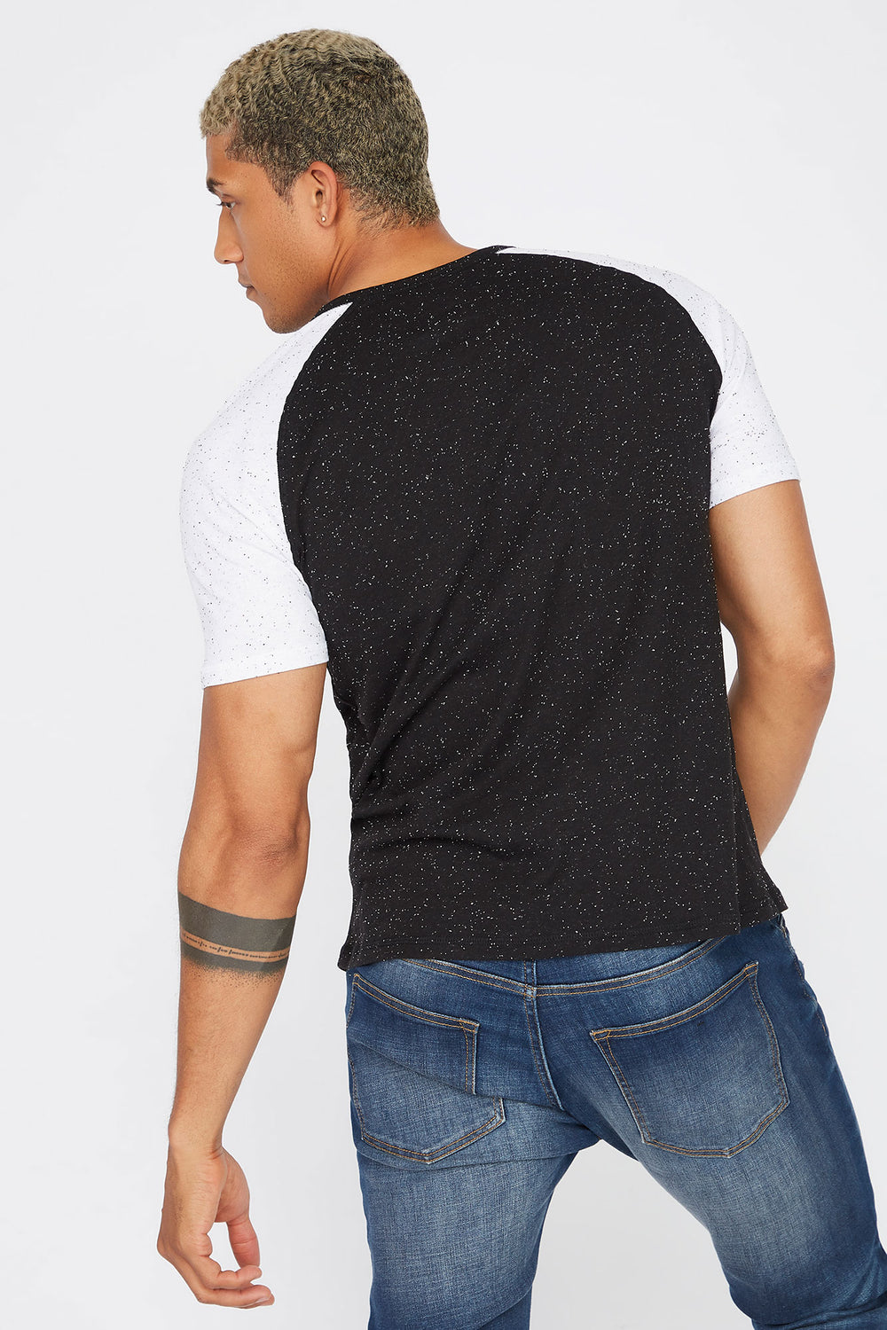 Speckled Contrast T-Shirt Black