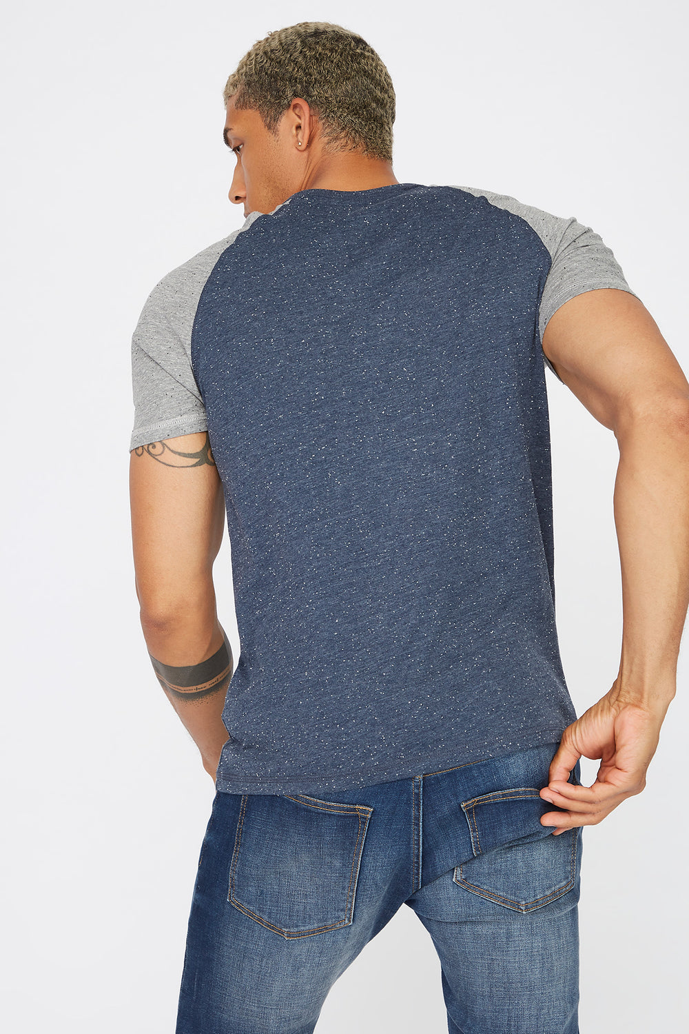 Speckled Contrast T-Shirt Denim Blue