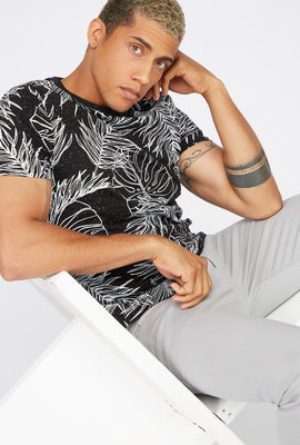 Speckled Palm Leaf Printed T-Shirt