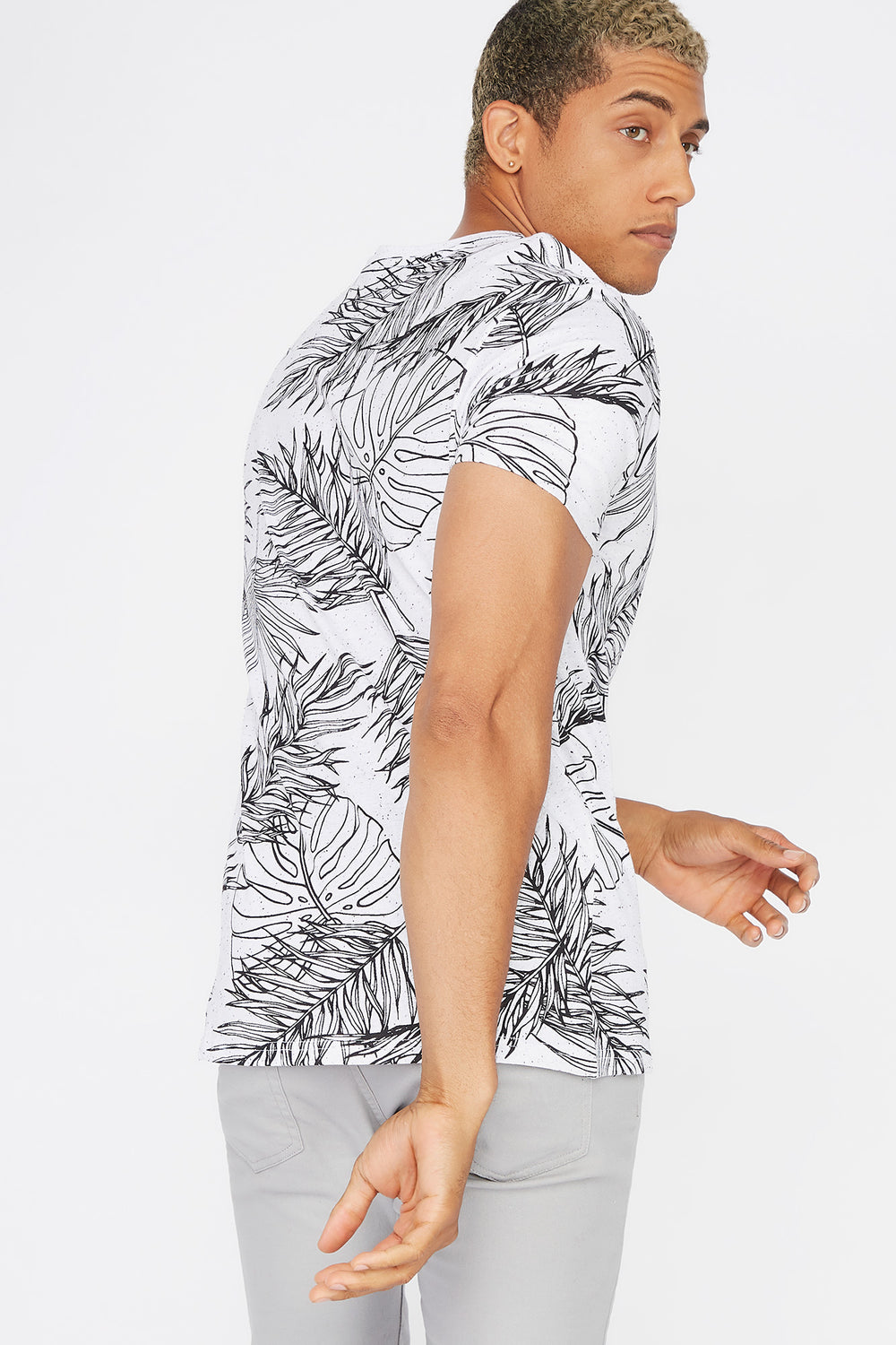 Speckled Palm Leaf Printed T-Shirt White