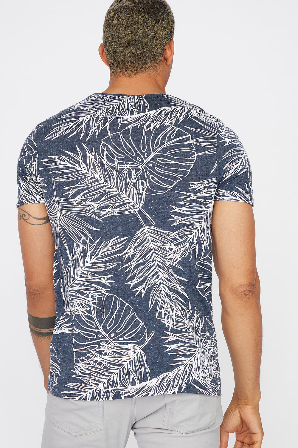 Speckled Palm Leaf Printed T-Shirt Denim Blue