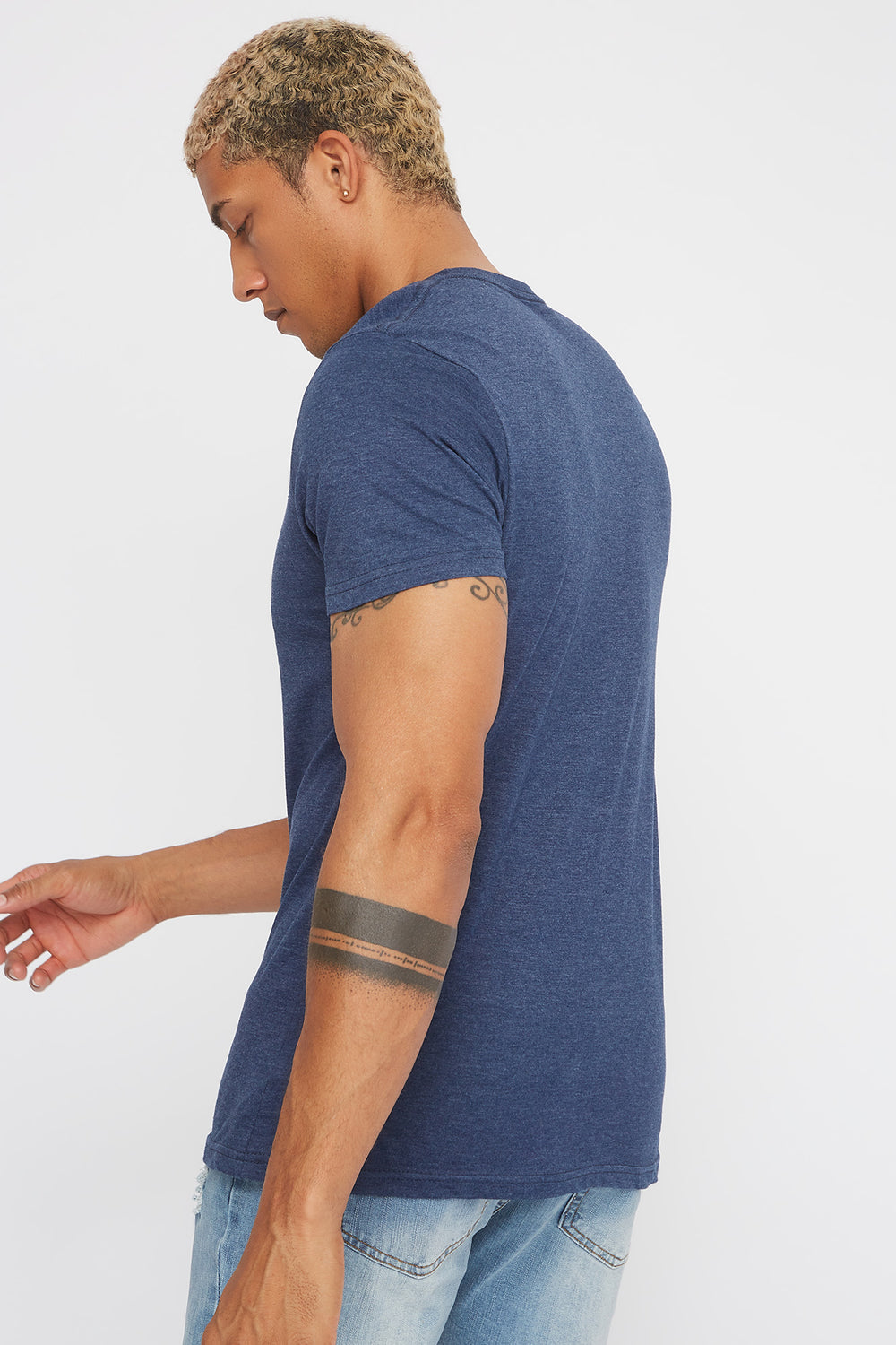 Basic Crew Neck T-Shirt Denim Blue