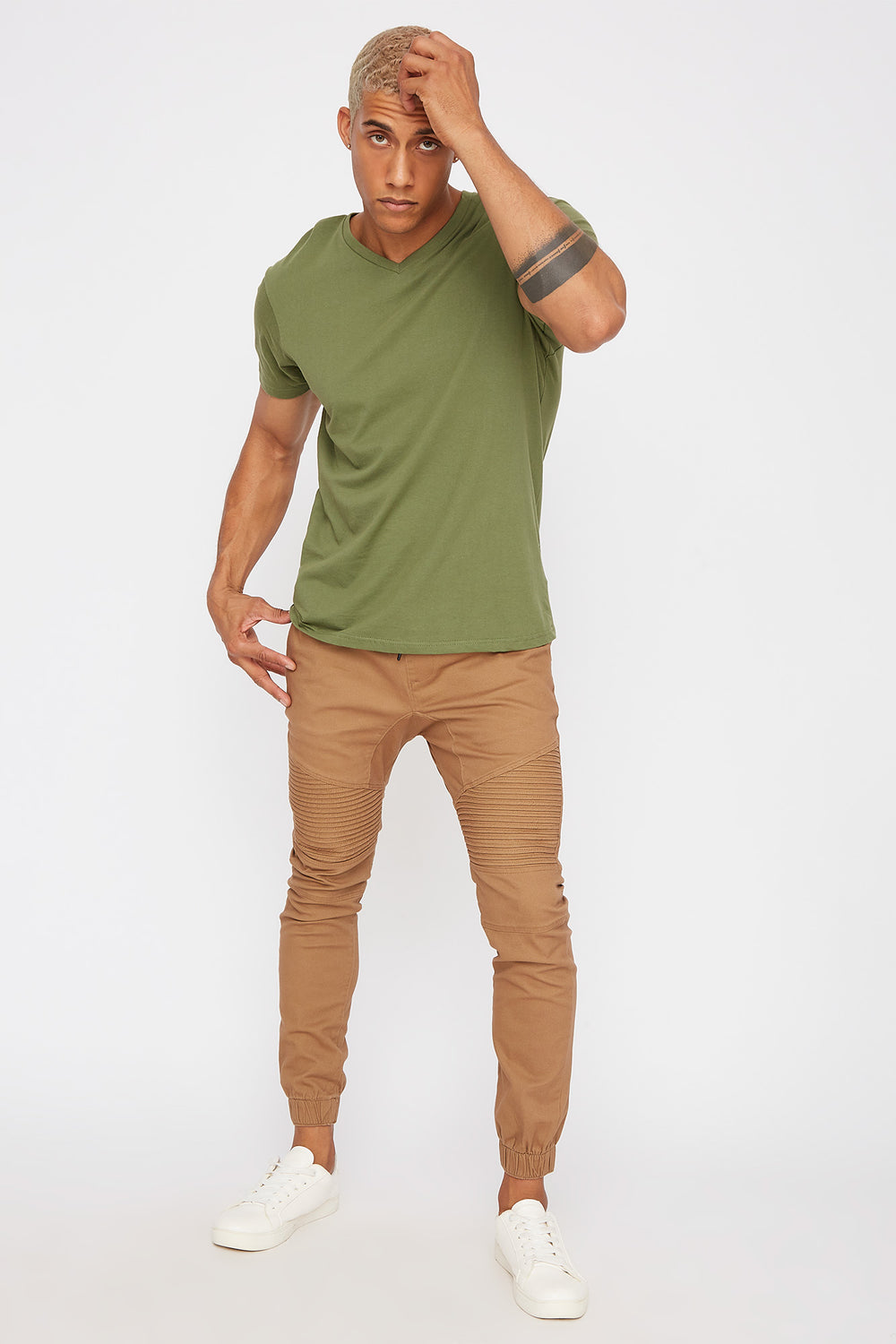 Solid V-Neck T-Shirt Dark Green