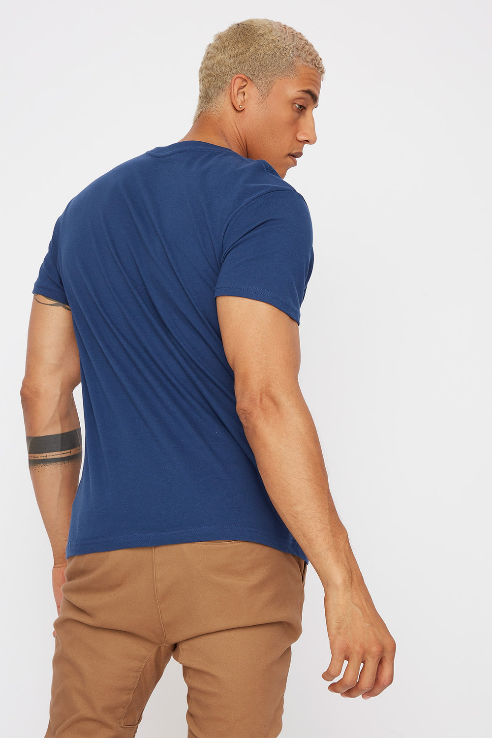 Solid V-Neck T-Shirt Dark Blue