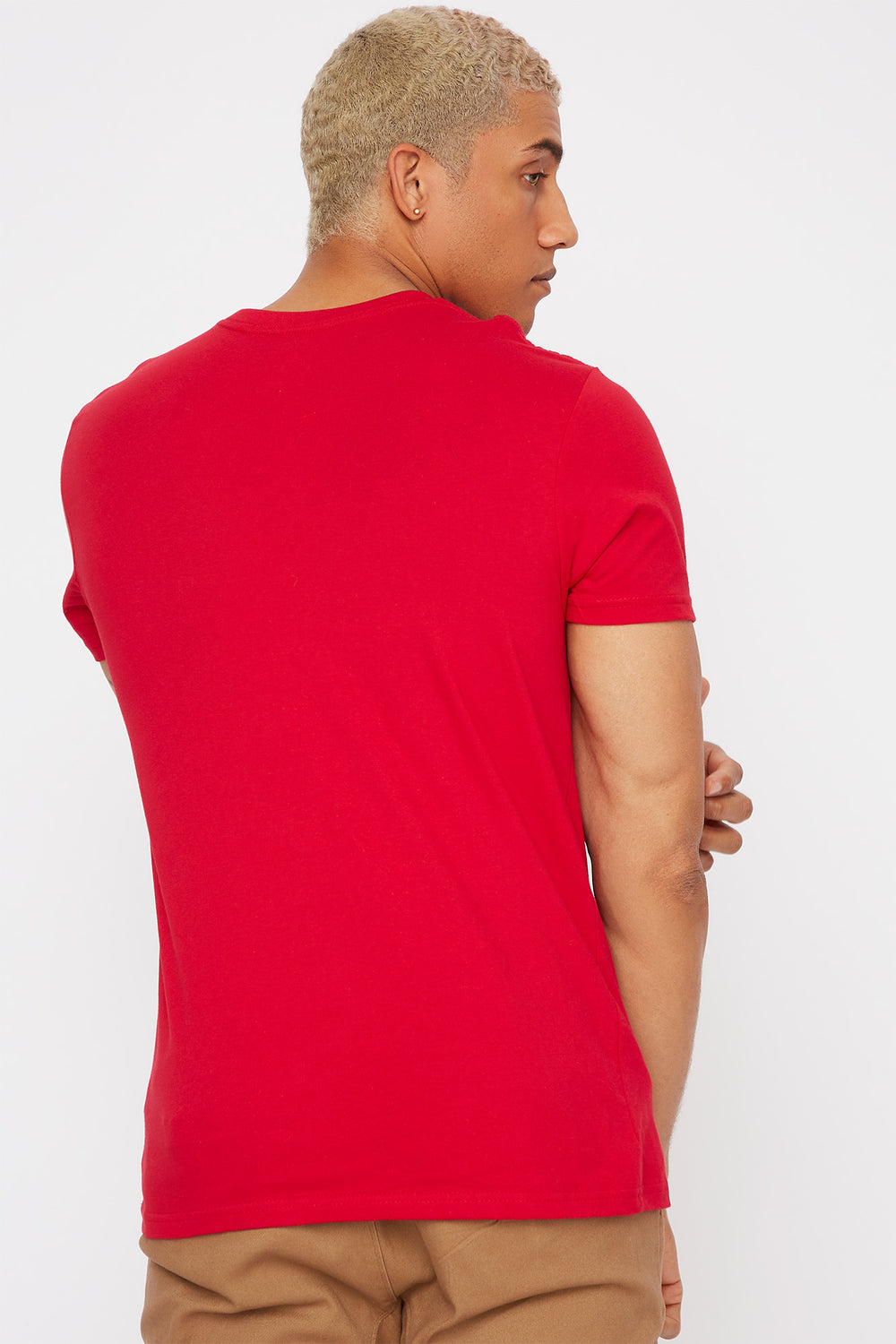 Solid V-Neck T-Shirt Red