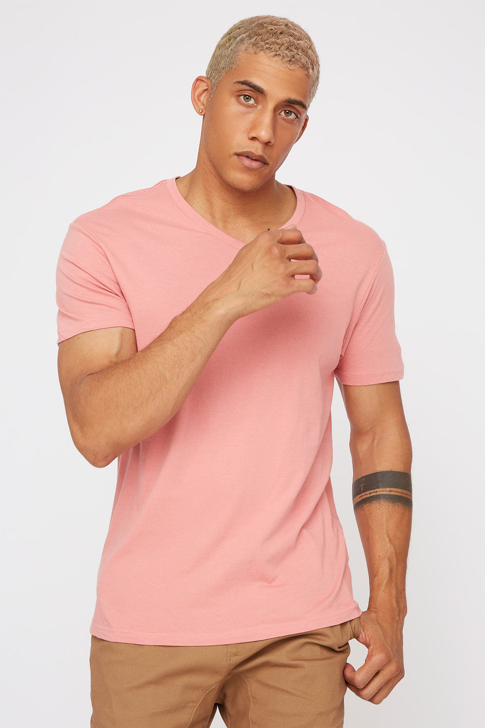 Solid V-Neck T-Shirt Rose