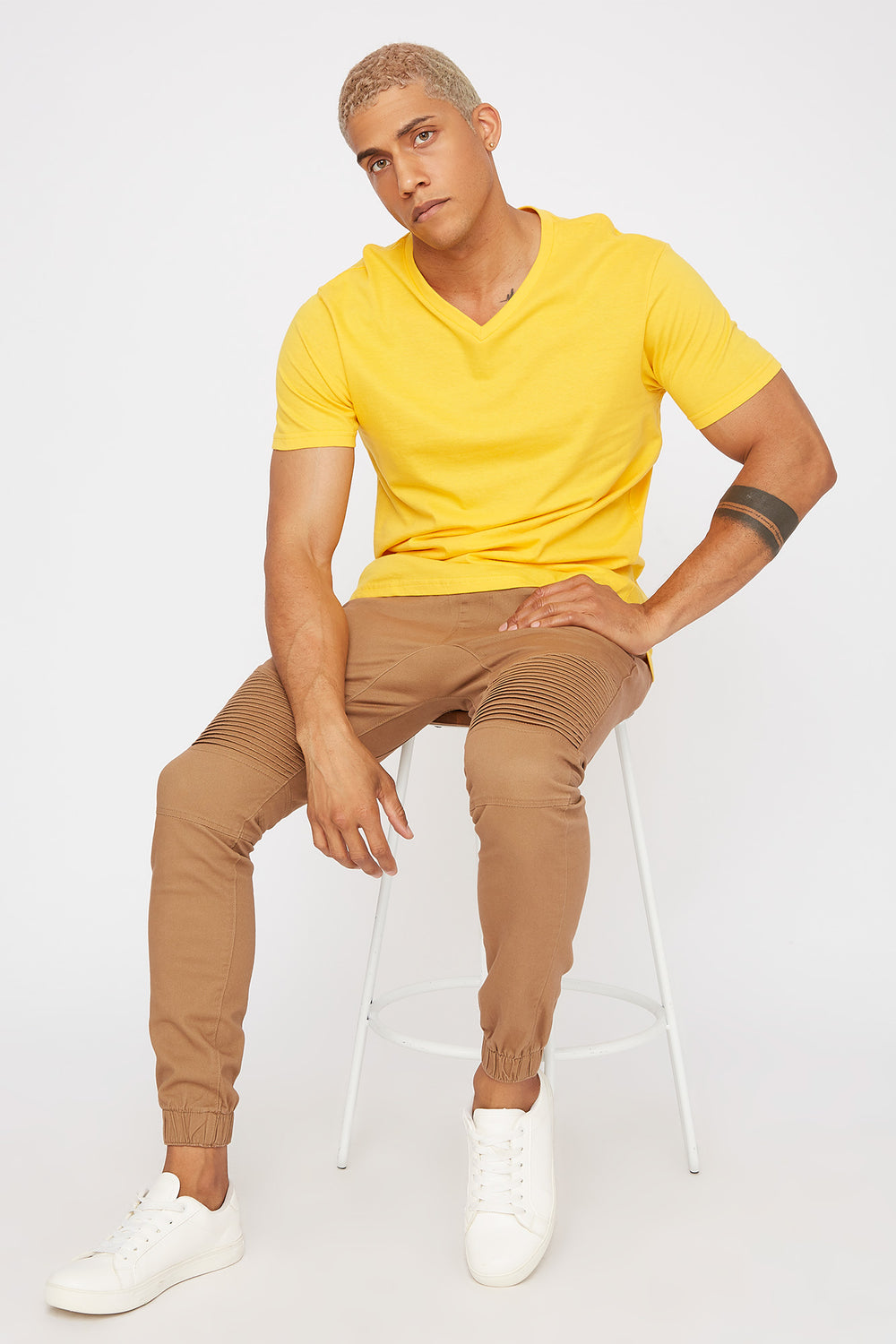 Solid V-Neck T-Shirt Yellow
