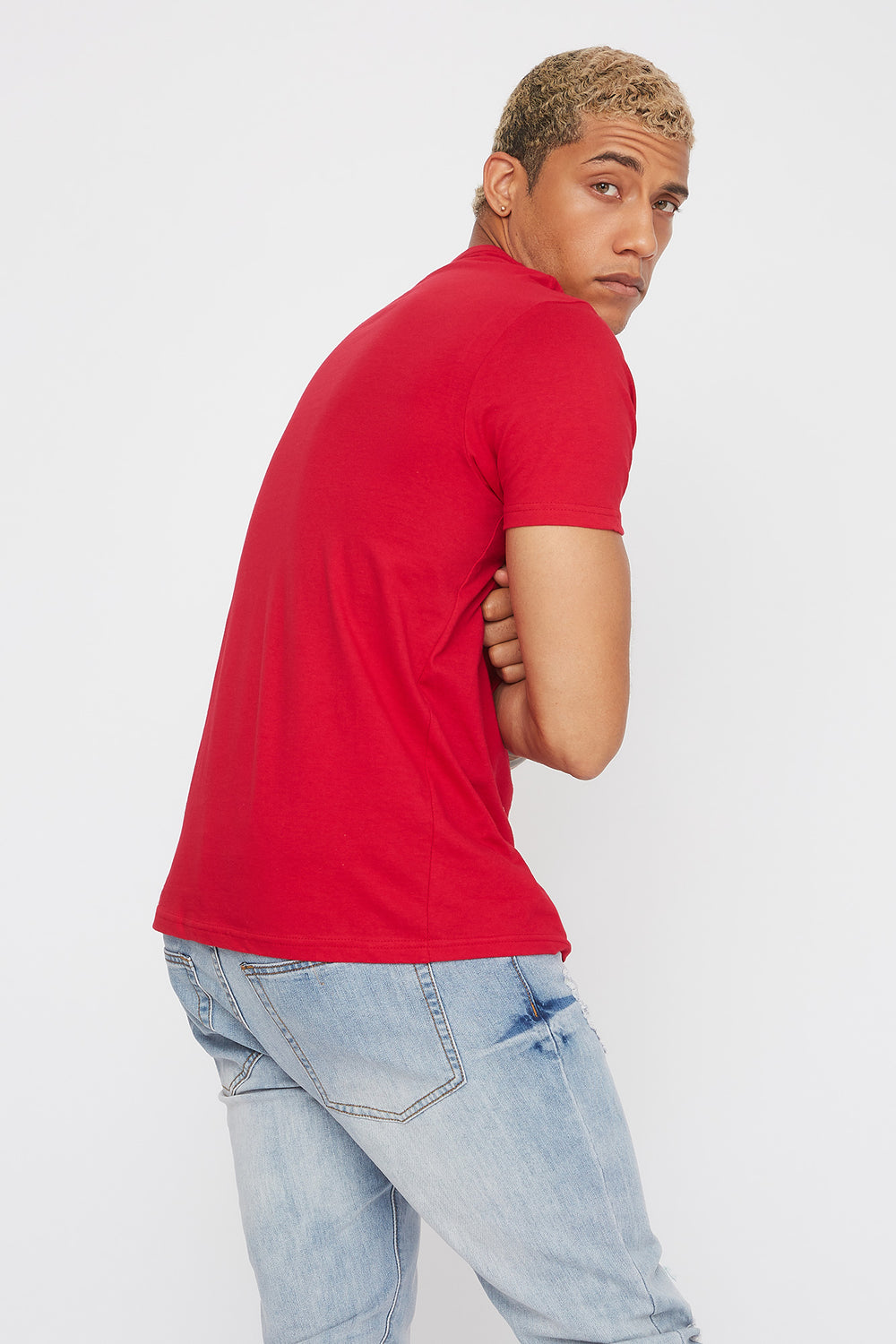 Solid Classic Crew Neck T-Shirt Red