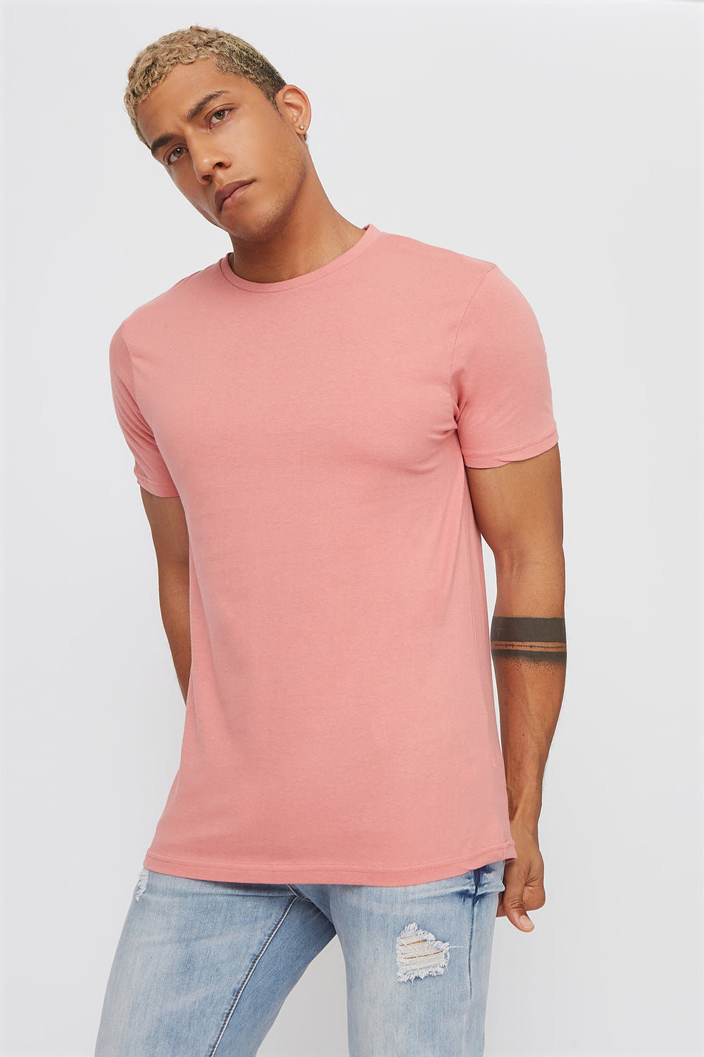 Solid Classic Crew Neck T-Shirt Rose