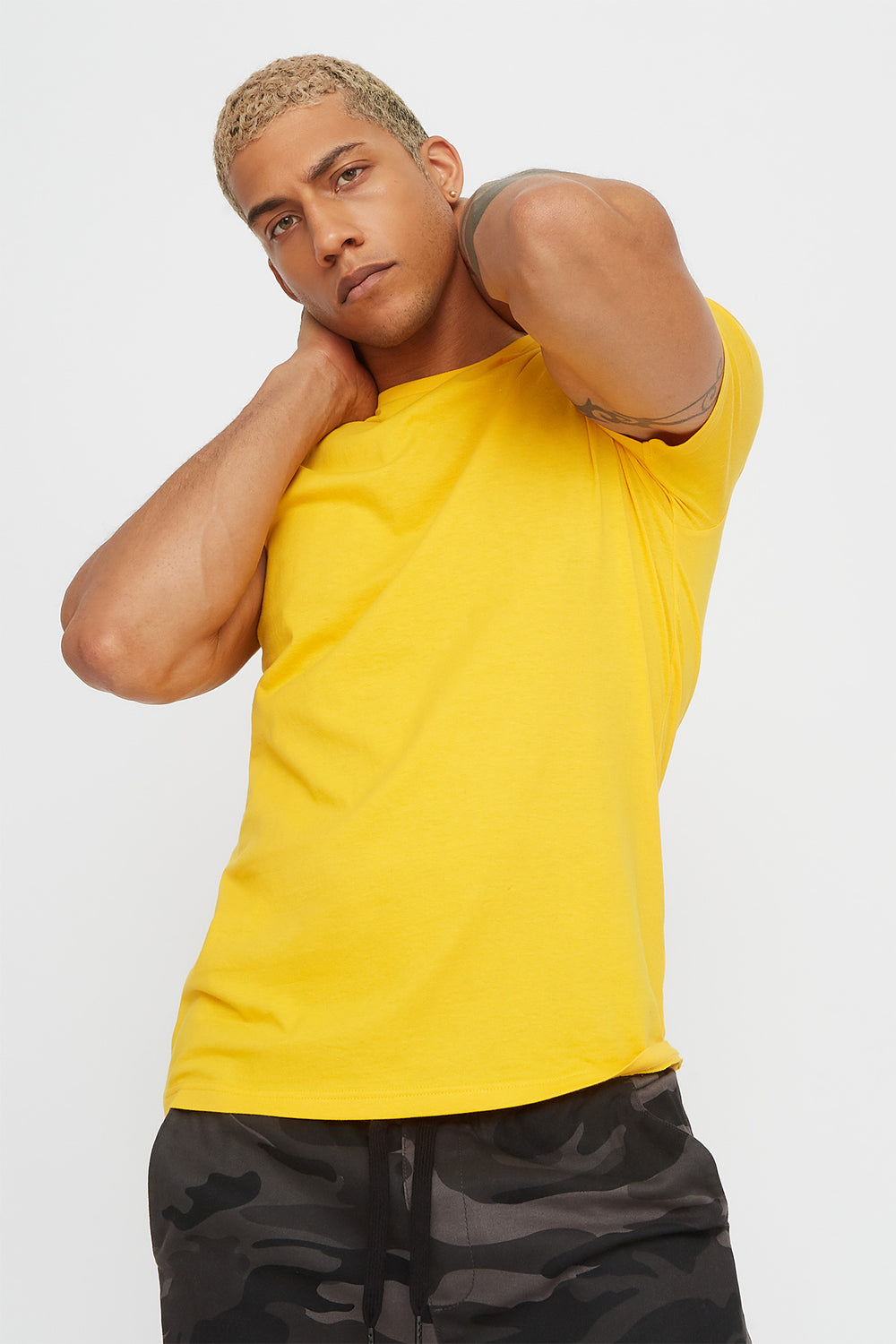 Solid Classic Crew Neck T-Shirt Yellow