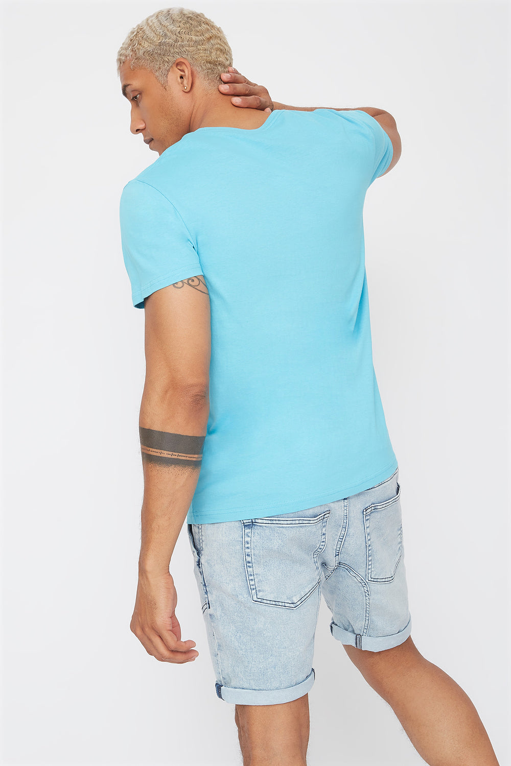 Solid Basic V-Neck T-Shirt Ocean Blue
