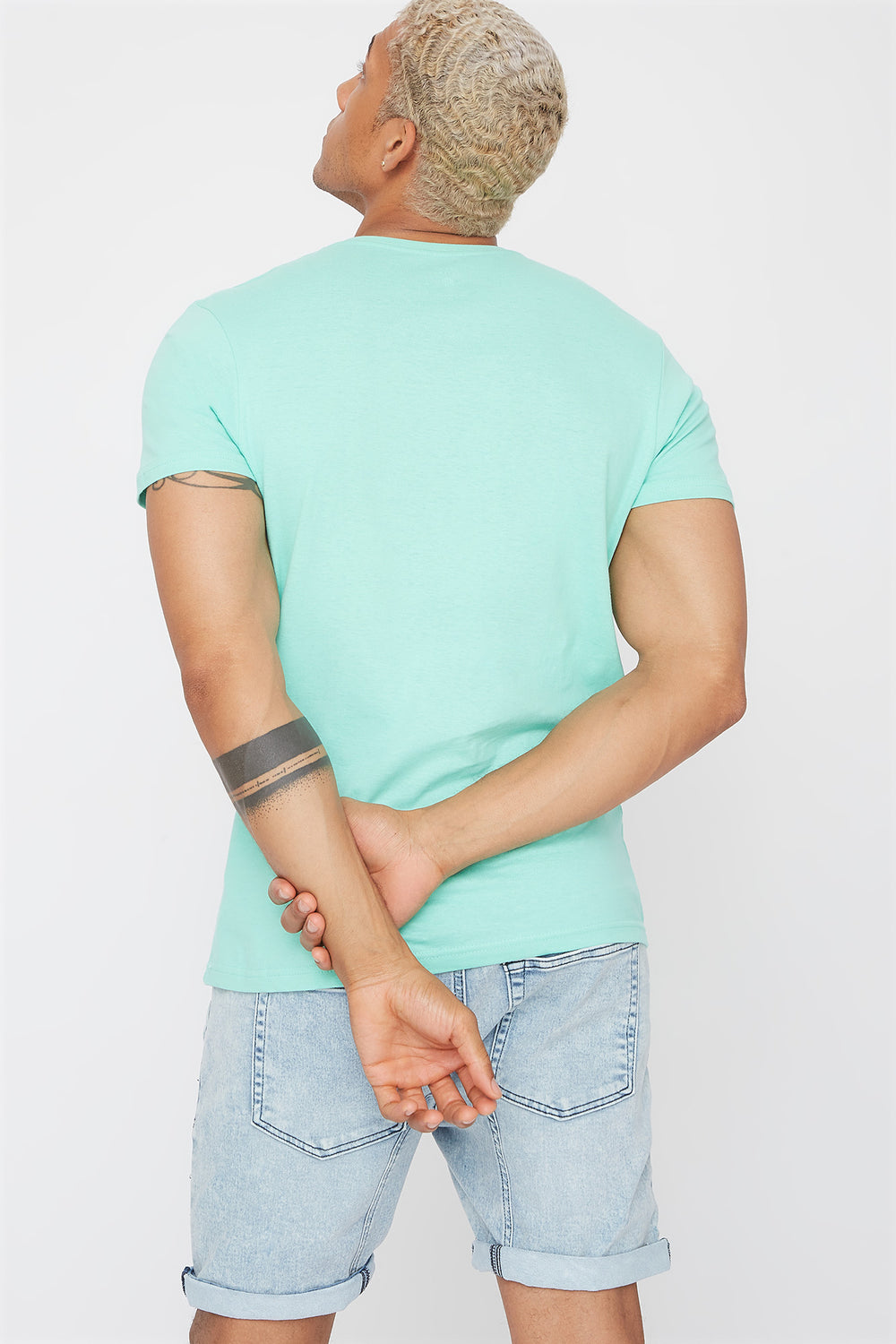 Solid Basic V-Neck T-Shirt Sage