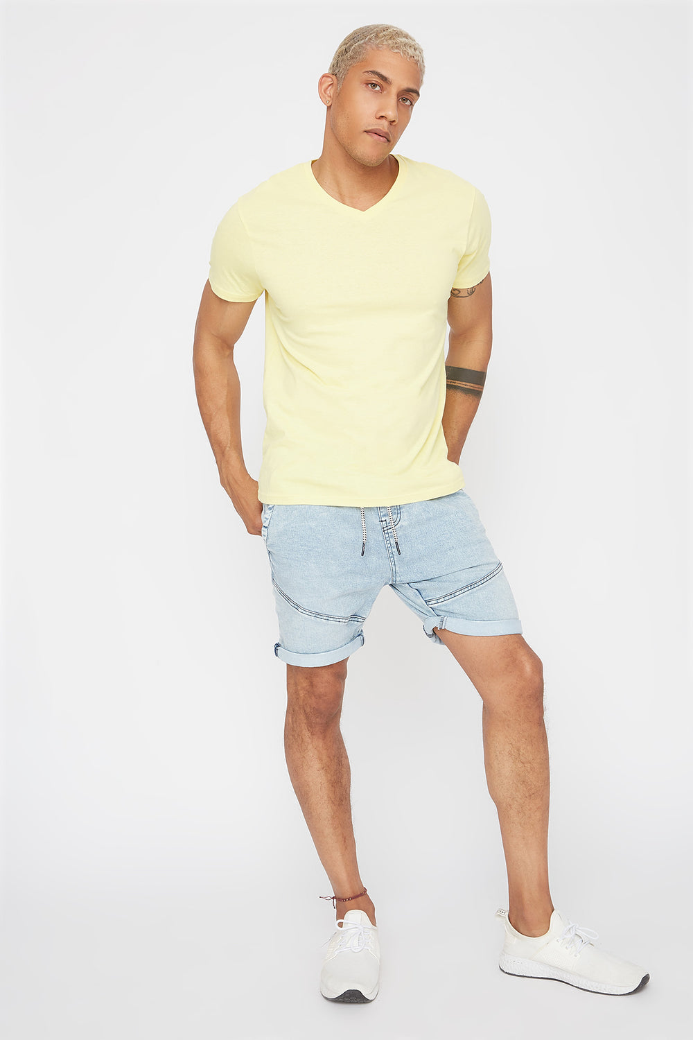 Solid Basic V-Neck T-Shirt Pale Yellow