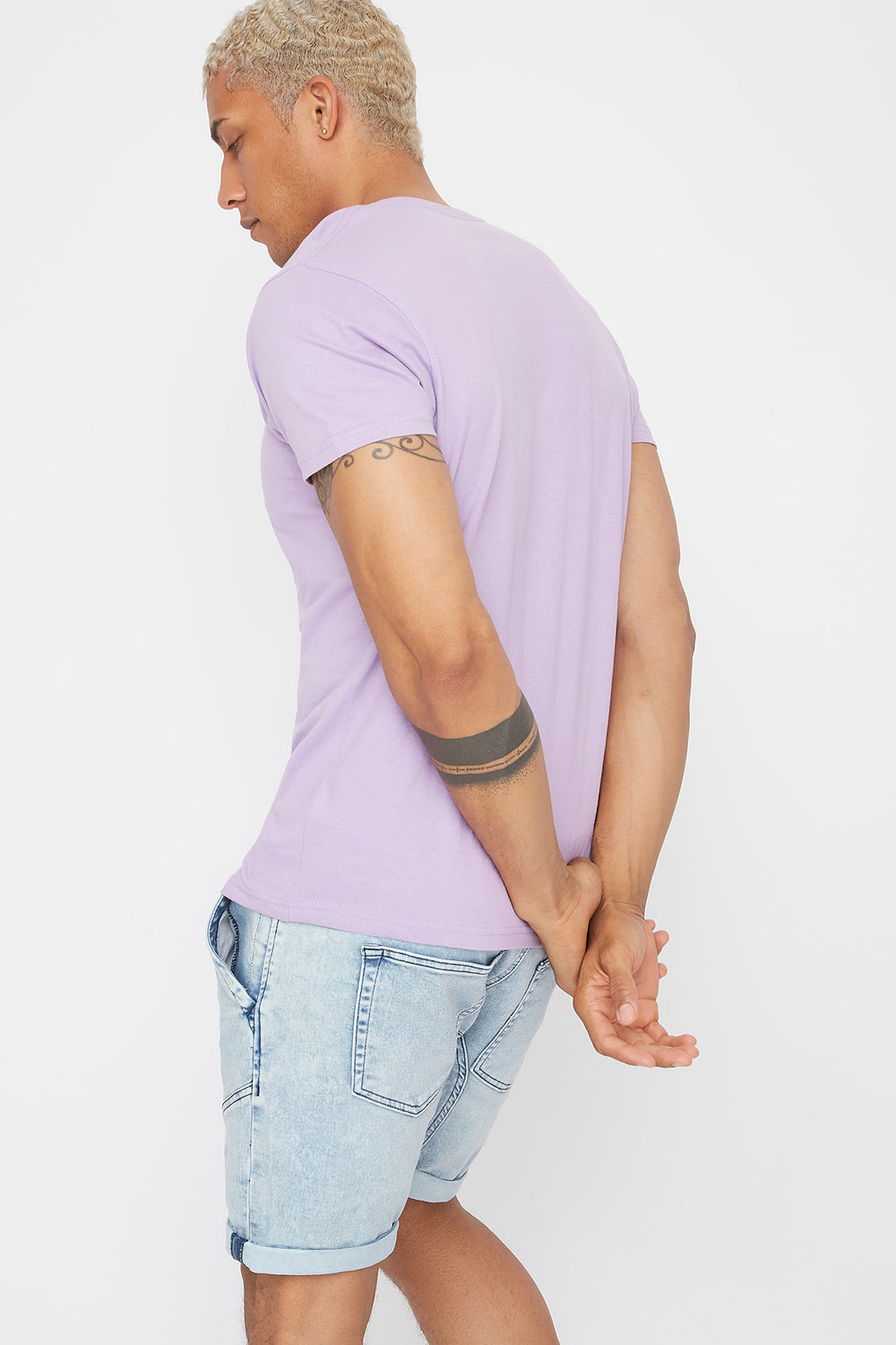 Solid Basic V-Neck T-Shirt Lilac