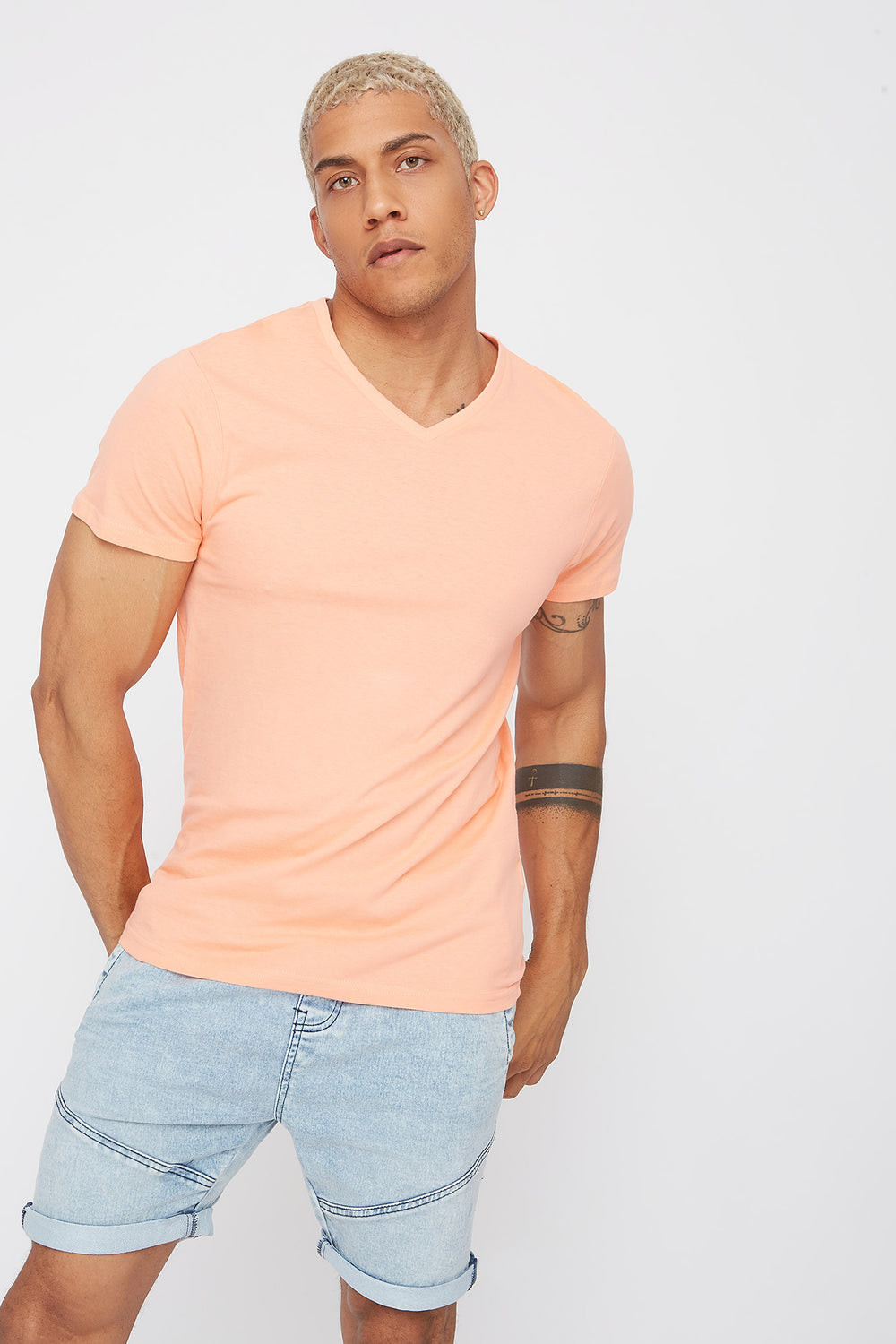 Solid Basic V-Neck T-Shirt Peach