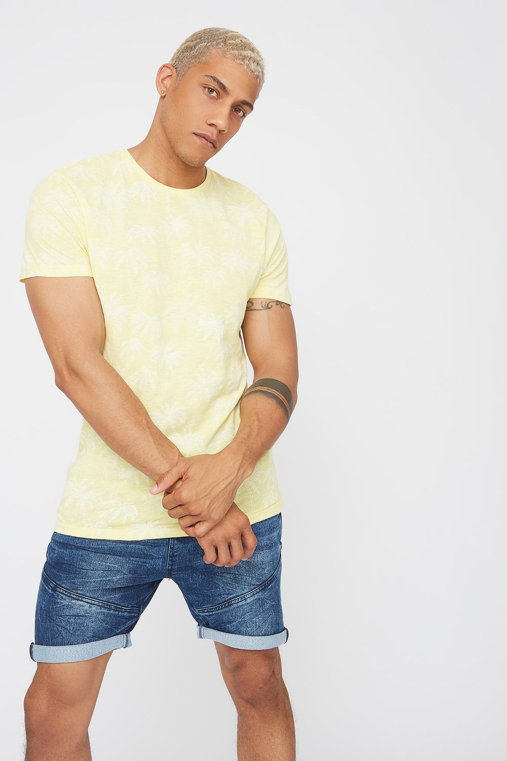 Palm Tree Crew Neck T-Shirt Pale Yellow