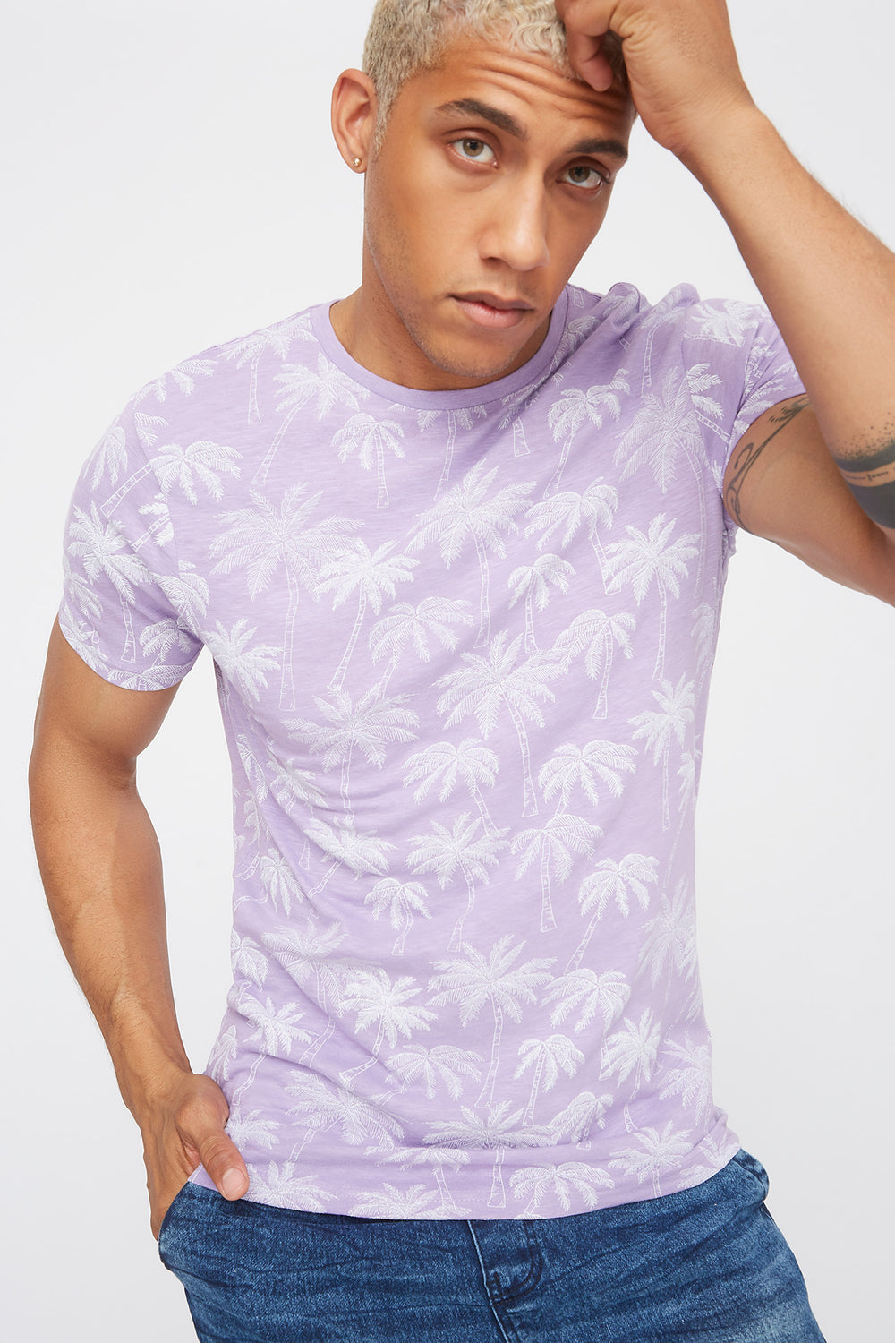 Palm Tree Crew Neck T-Shirt Lilac
