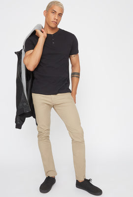 Basic Solid Henley T-Shirt