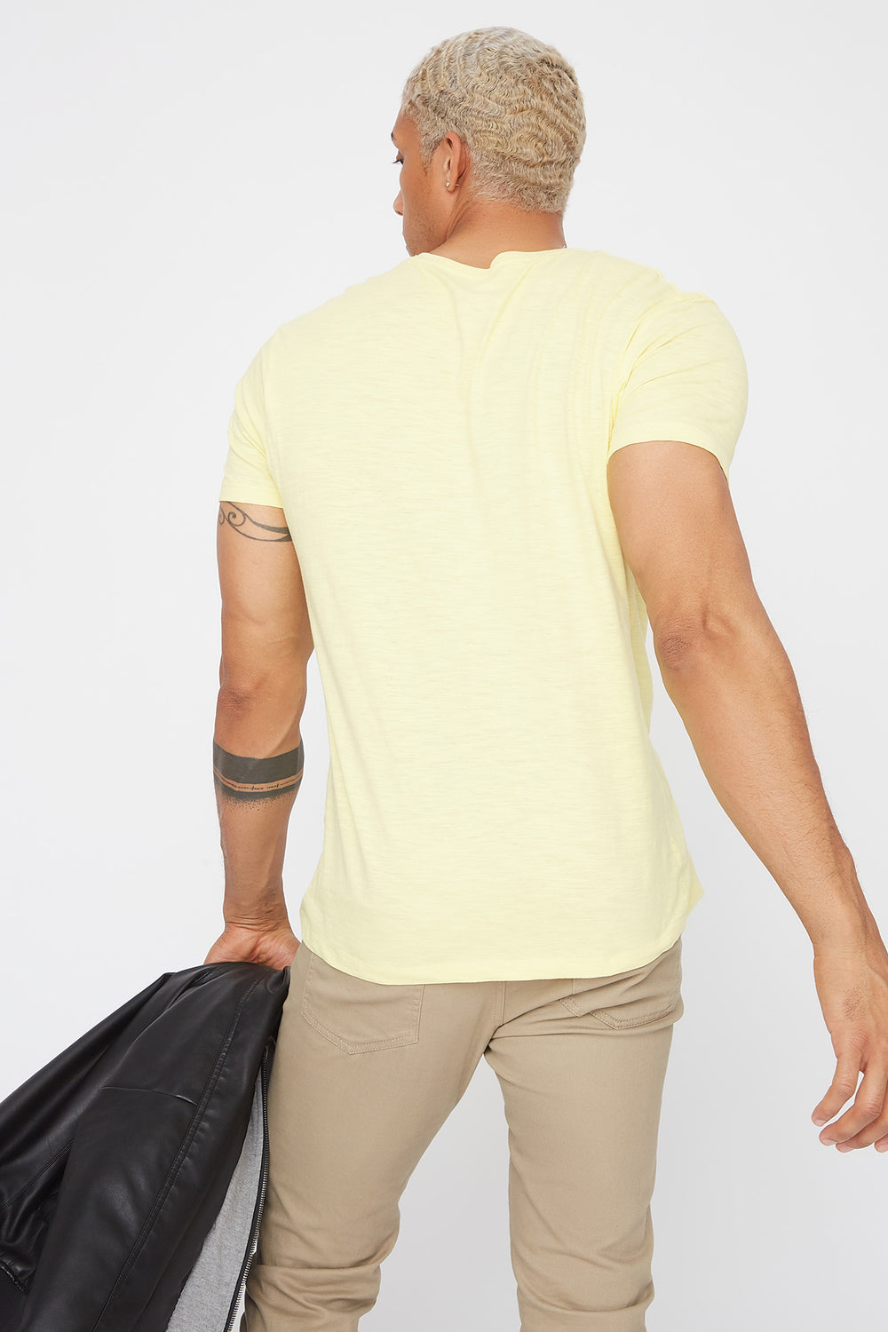 Basic Solid Henley T-Shirt Pale Yellow