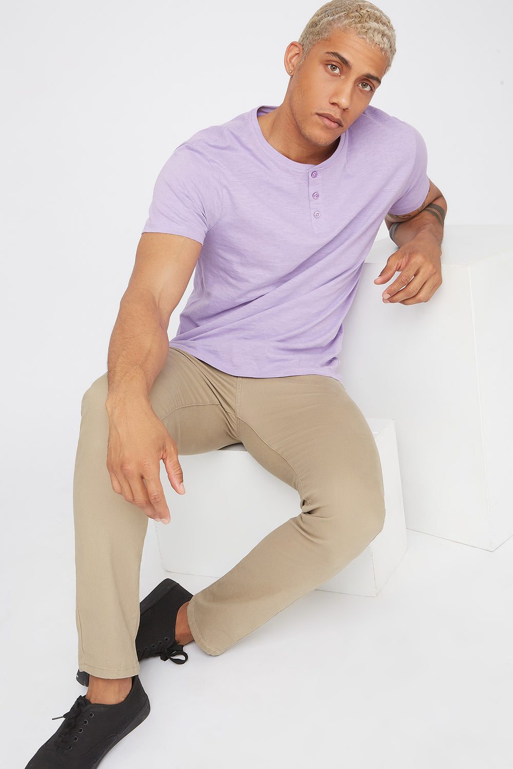 Basic Solid Henley T-Shirt Lilac