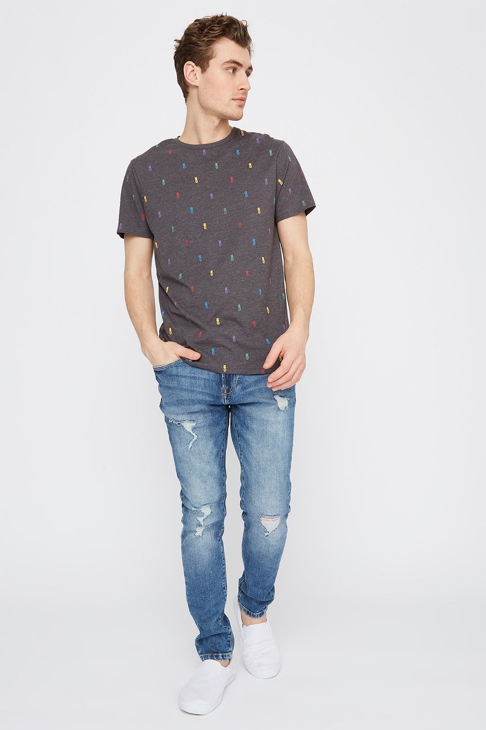 Micro Print Crew Neck T-Shirt Charcoal
